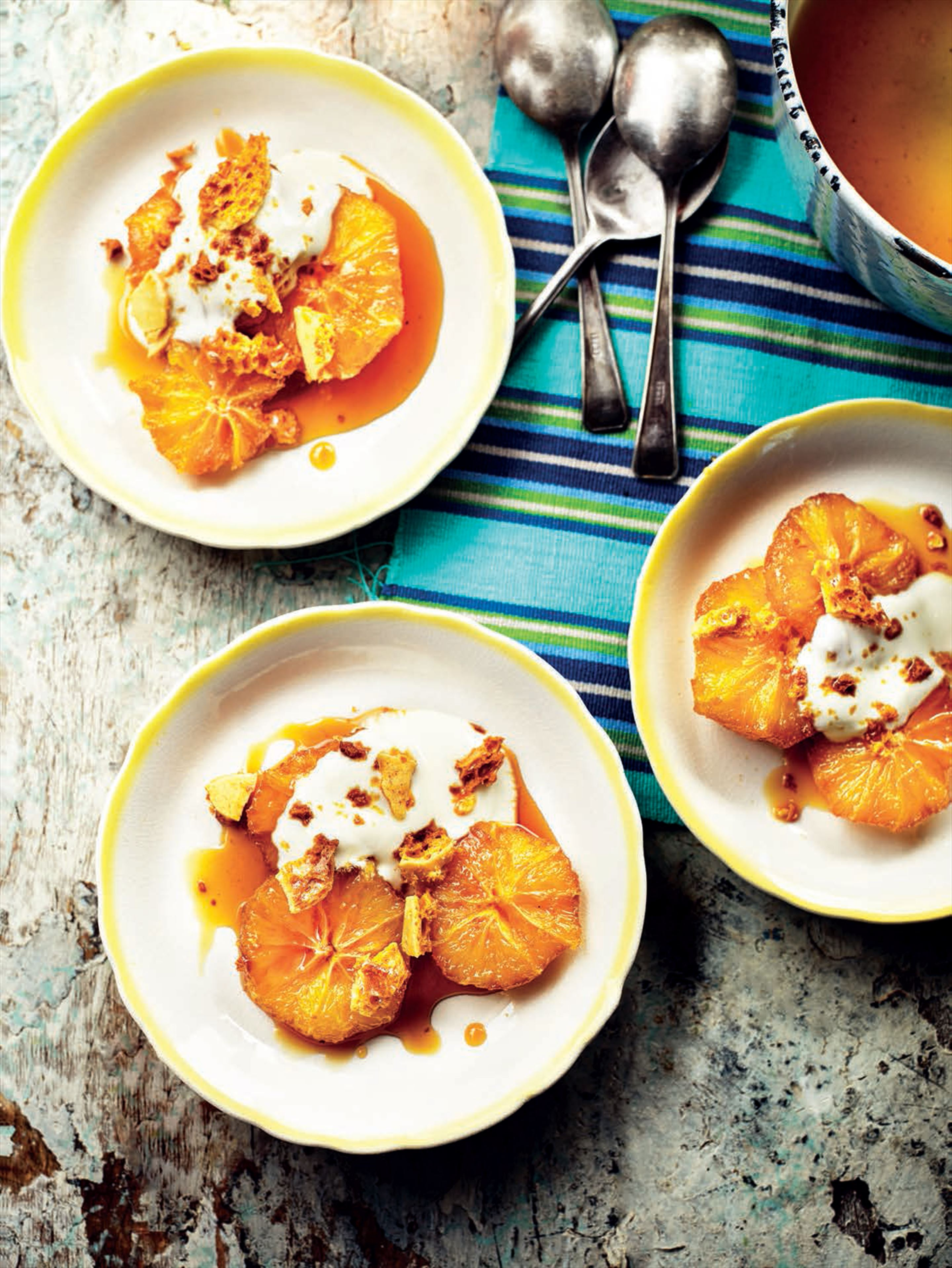 Caramelized oranges with orange flower yogurt and honeycomb