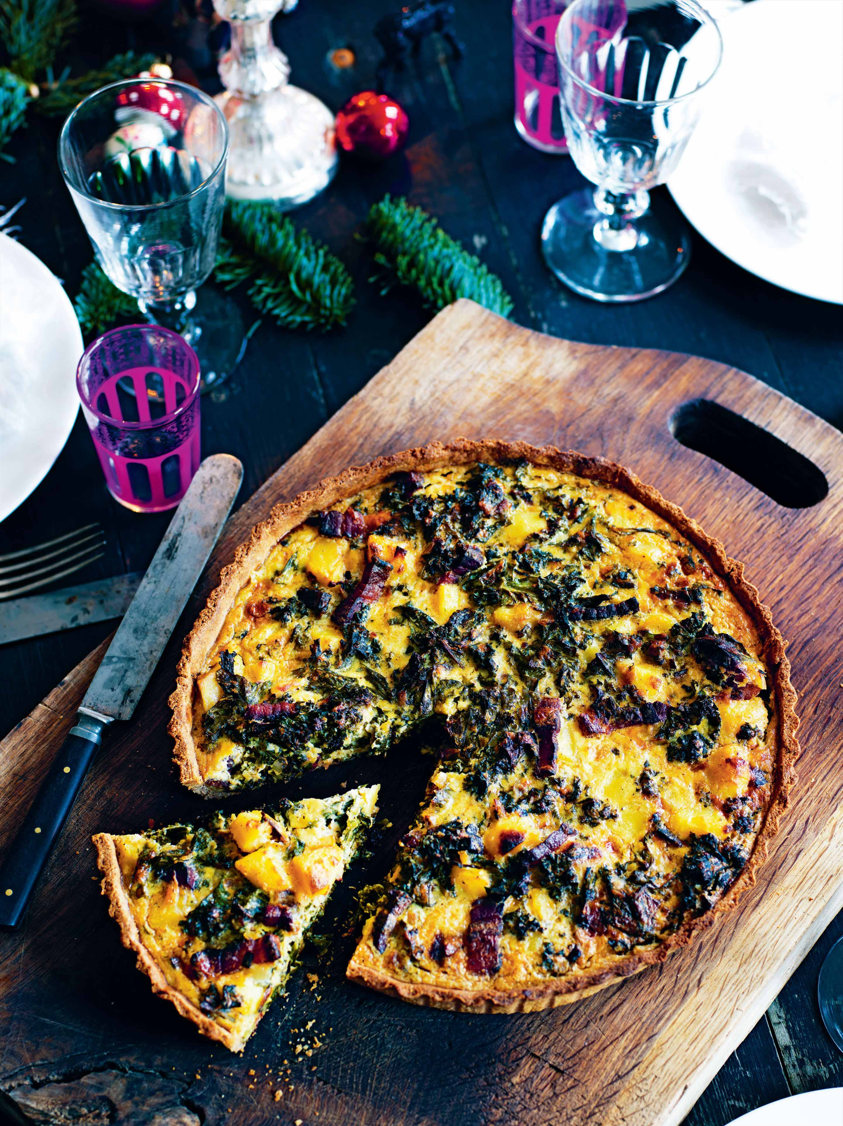 Kale and pancetta tart