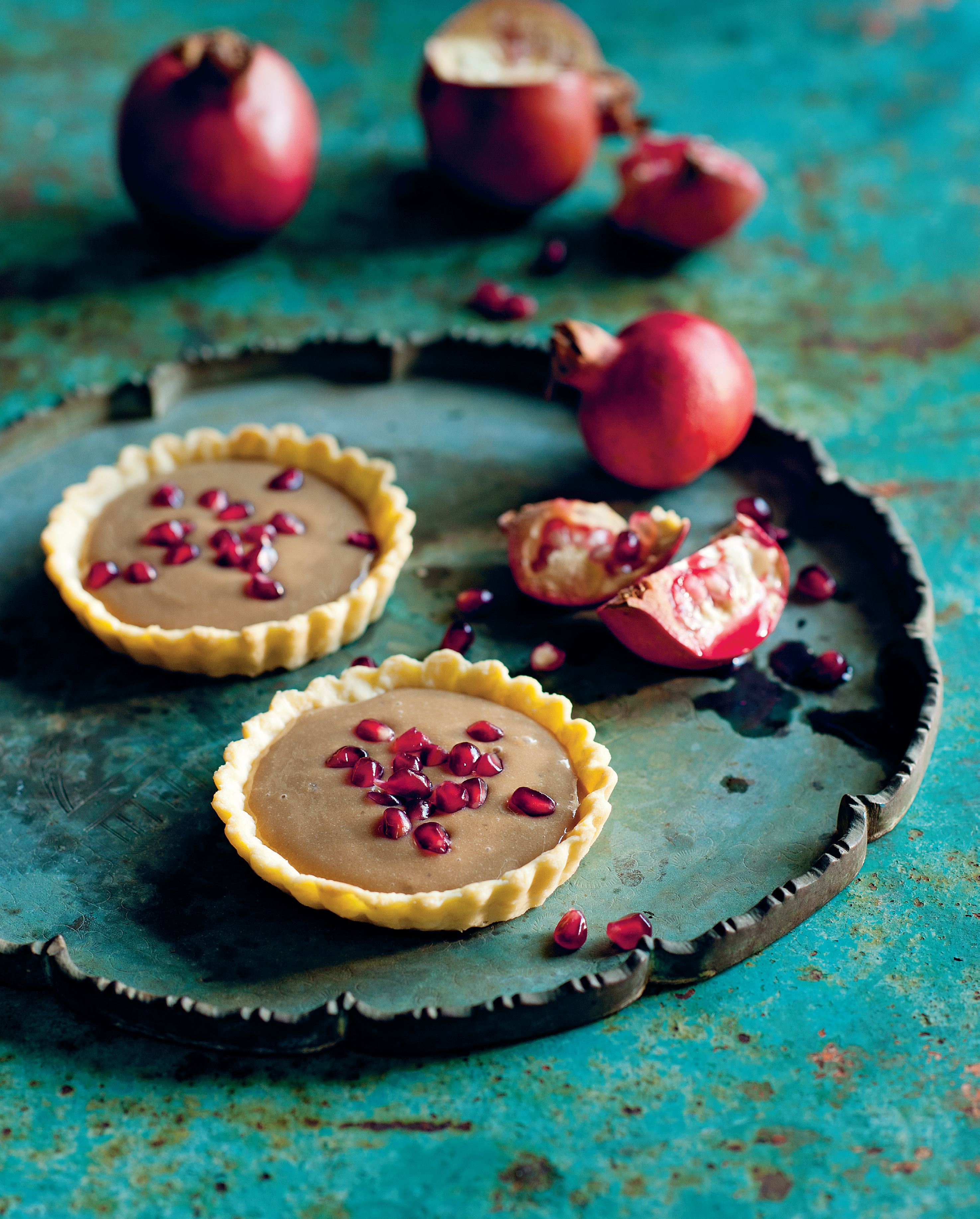 Vietnamese coffee tart with fresh pomegranate