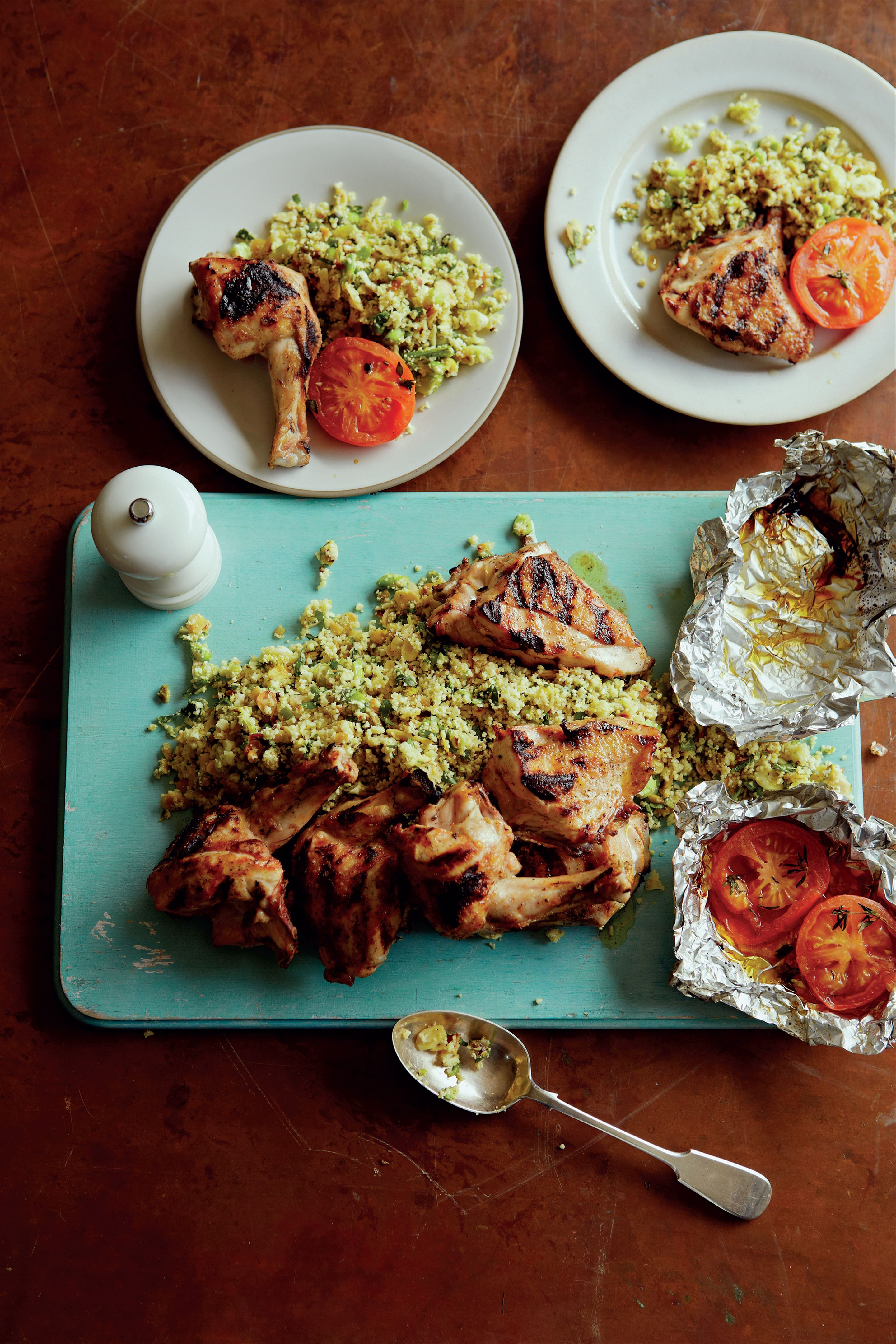 Cauliflower 'couscous' with barbecued chicken and honeyed tomatoes