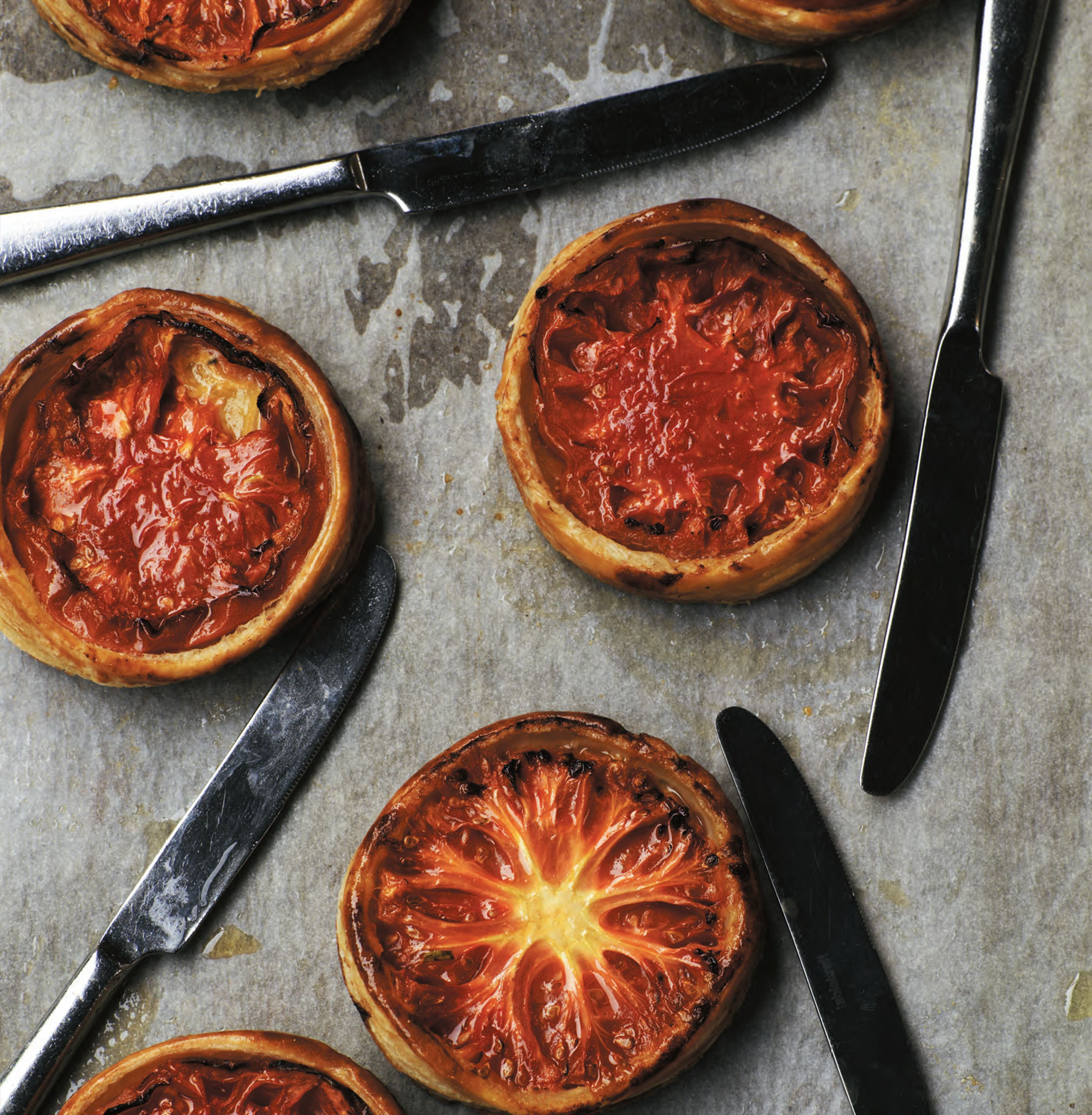 Heirloom tomato tarts with buffalo mozzarella