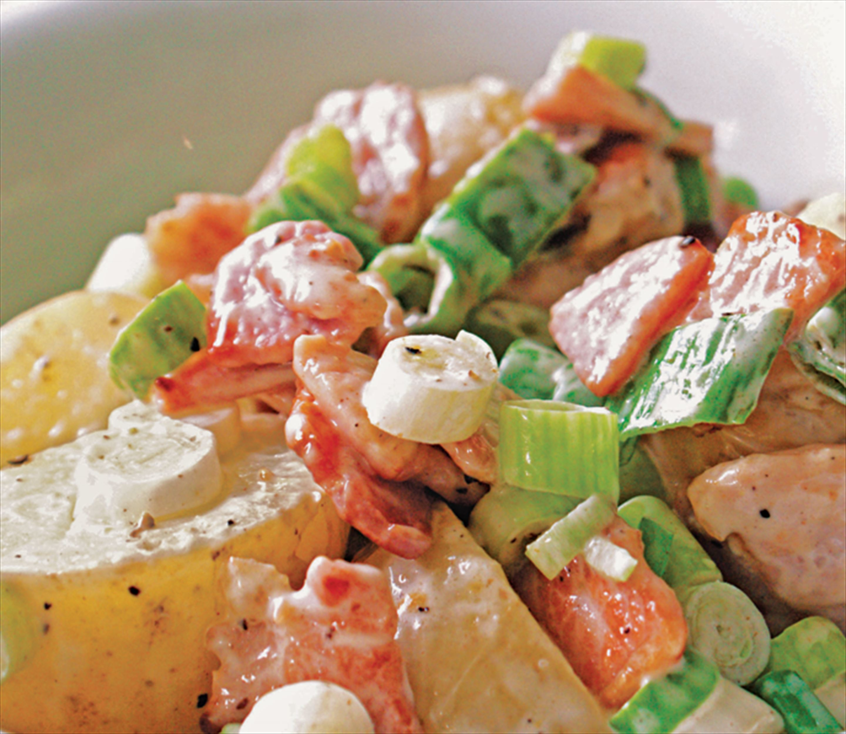 Potato, bacon and spring onion salad