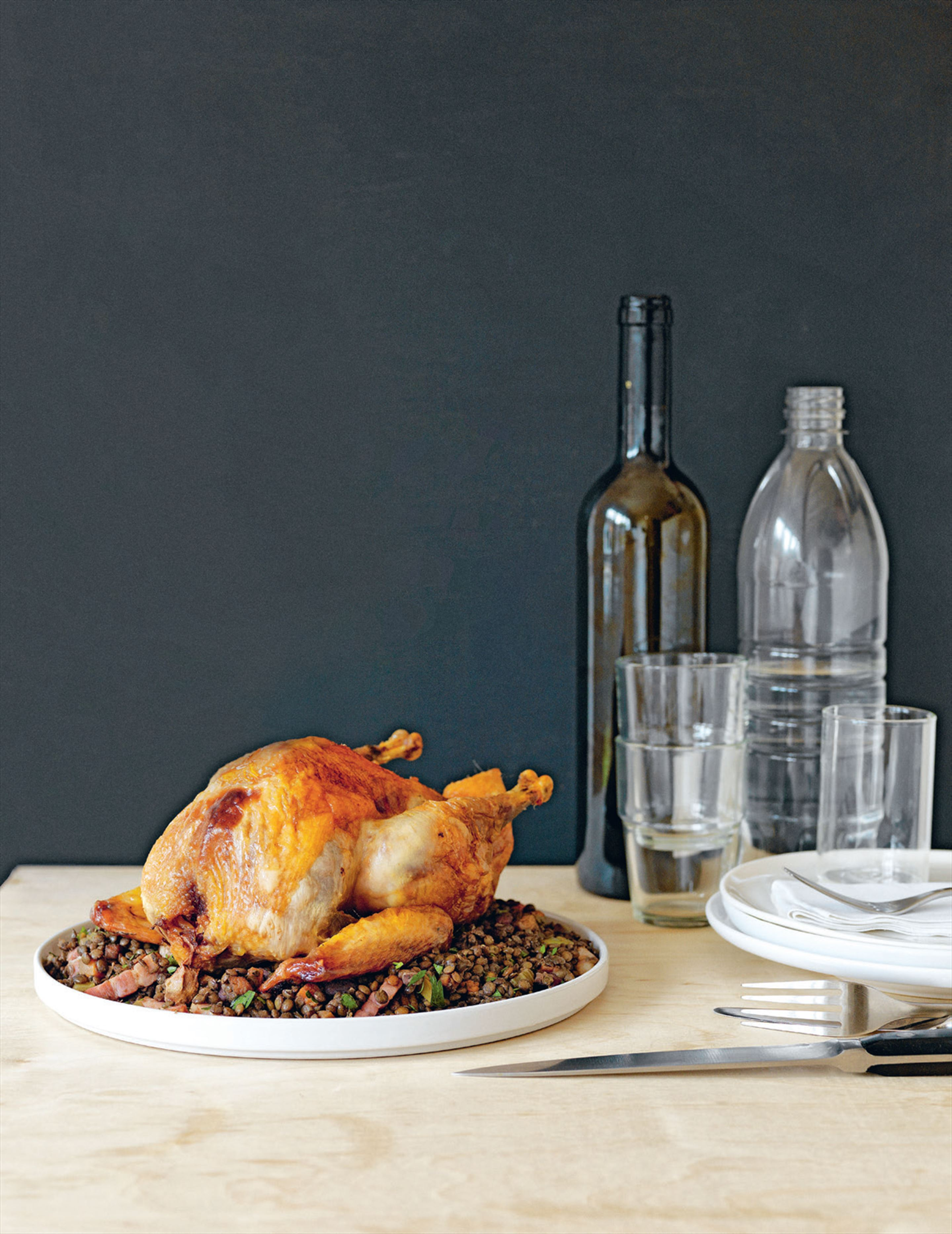 Old-fashioned roast guinea fowl with lentils & bacon