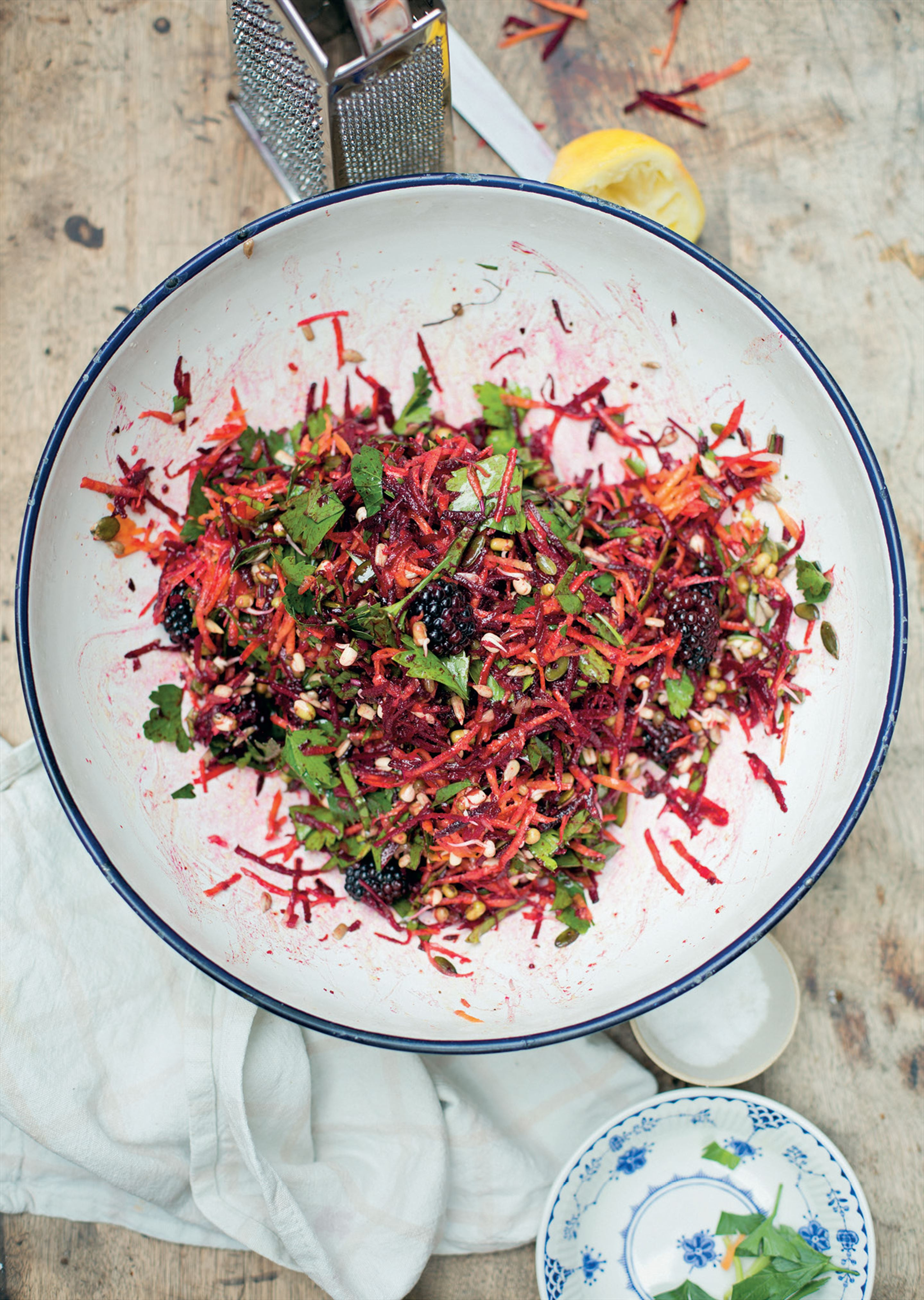 Autumn slaw with greens, beetroot, blackberries, seeds and sprouts