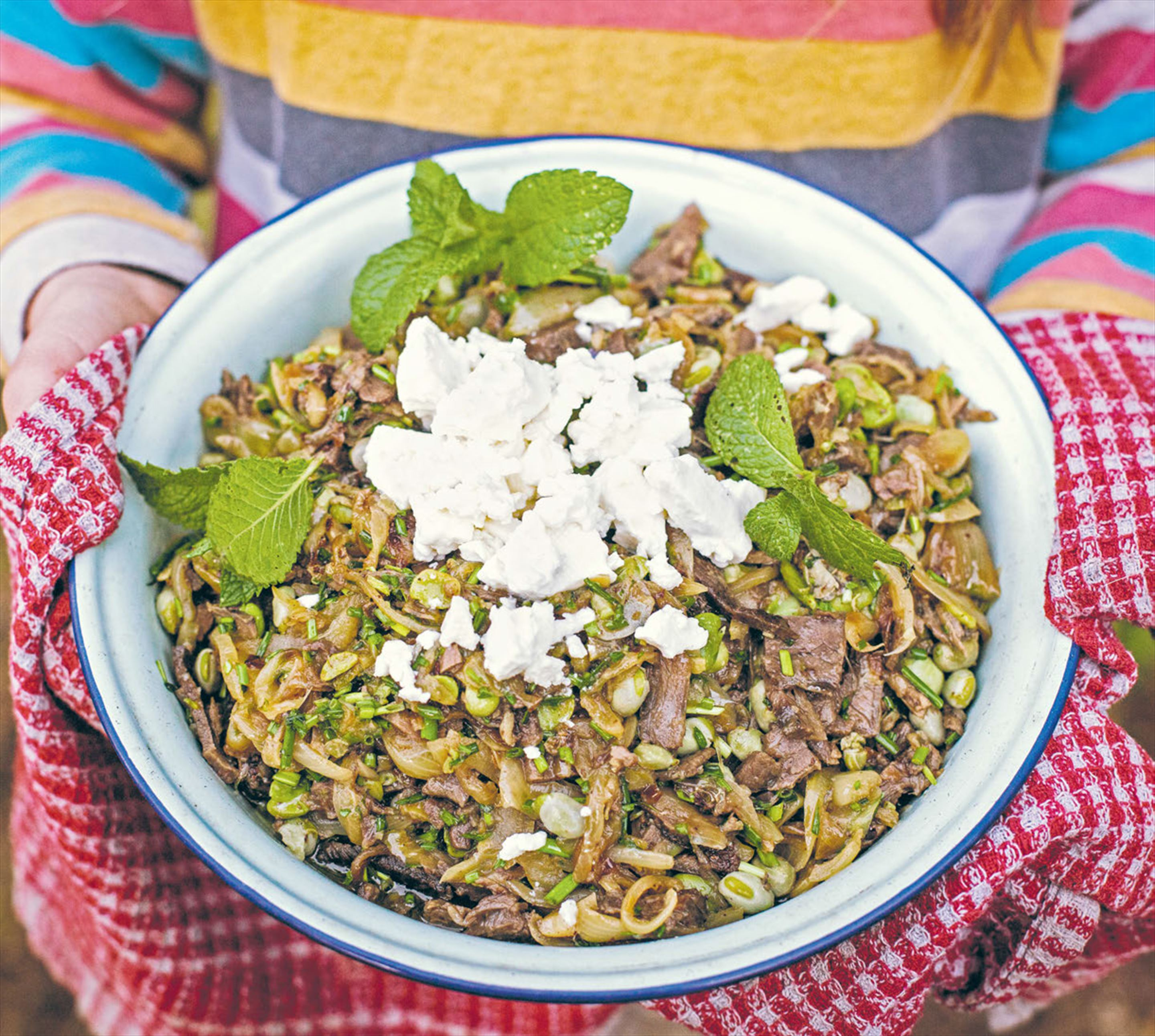Broad bean & venison warm salad