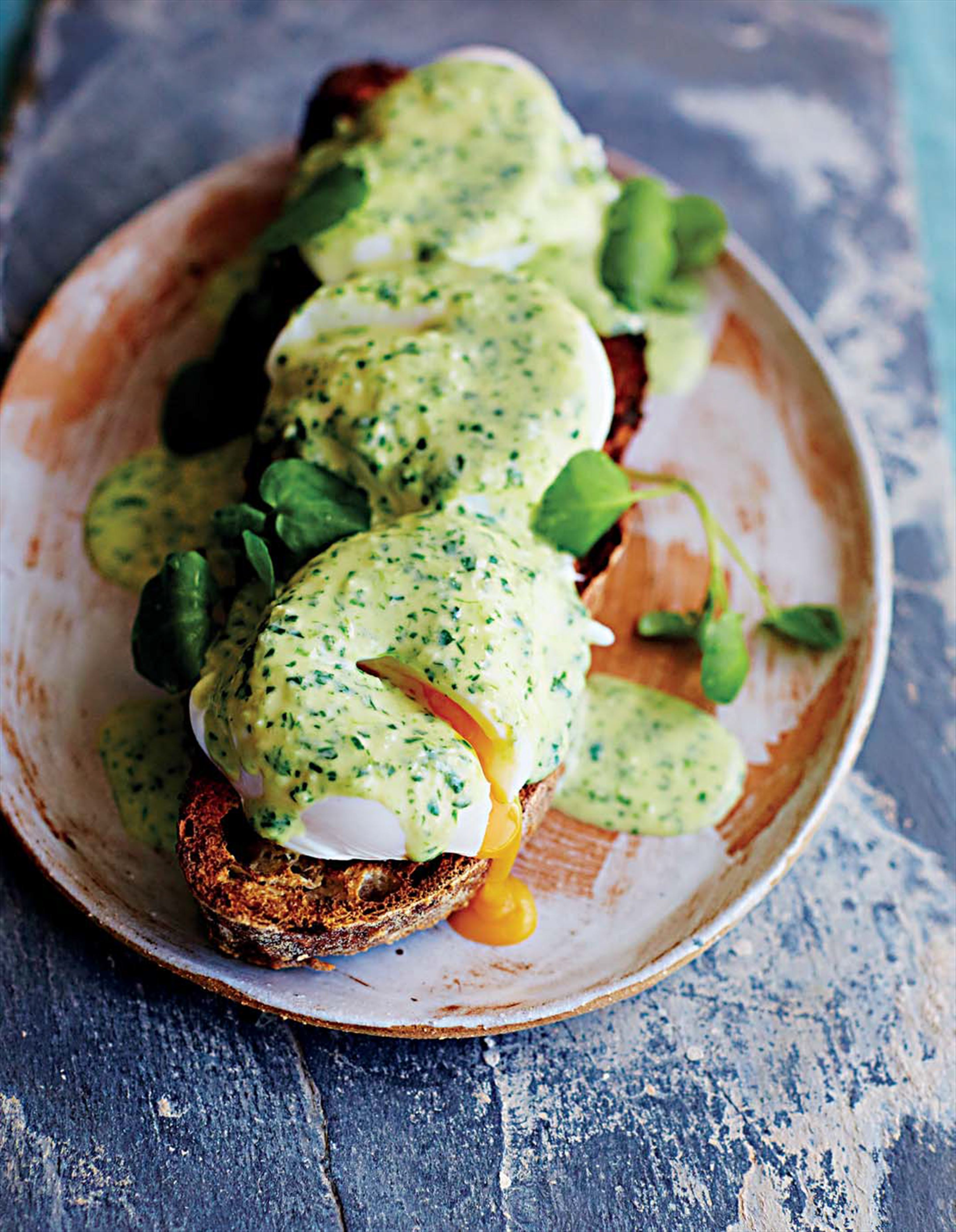 Poached eggs, watercress and Parmesan