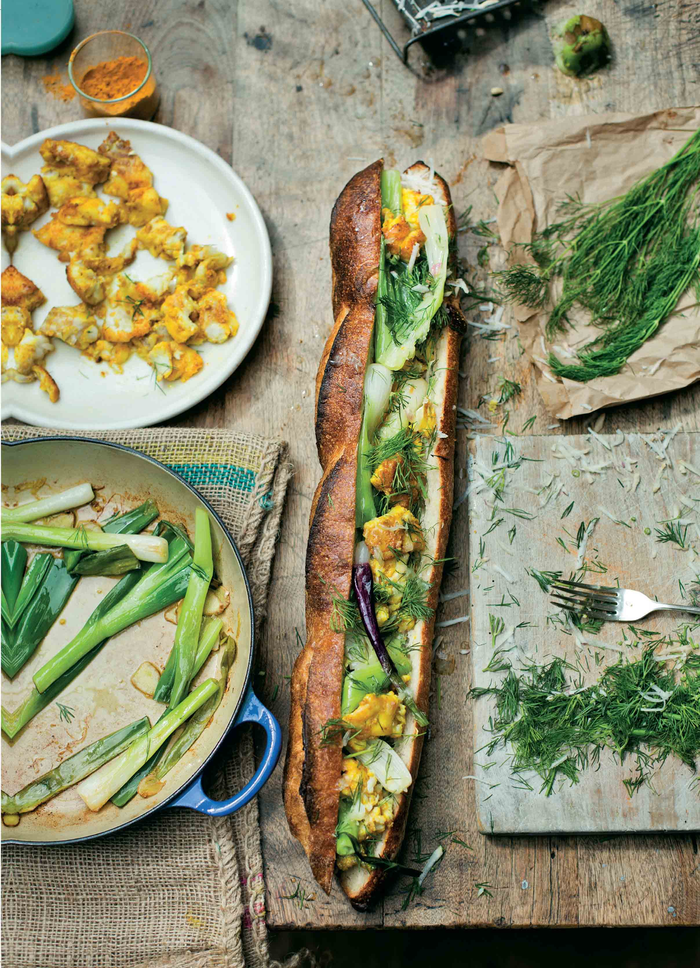 Banh mi of tilapia and spring onions