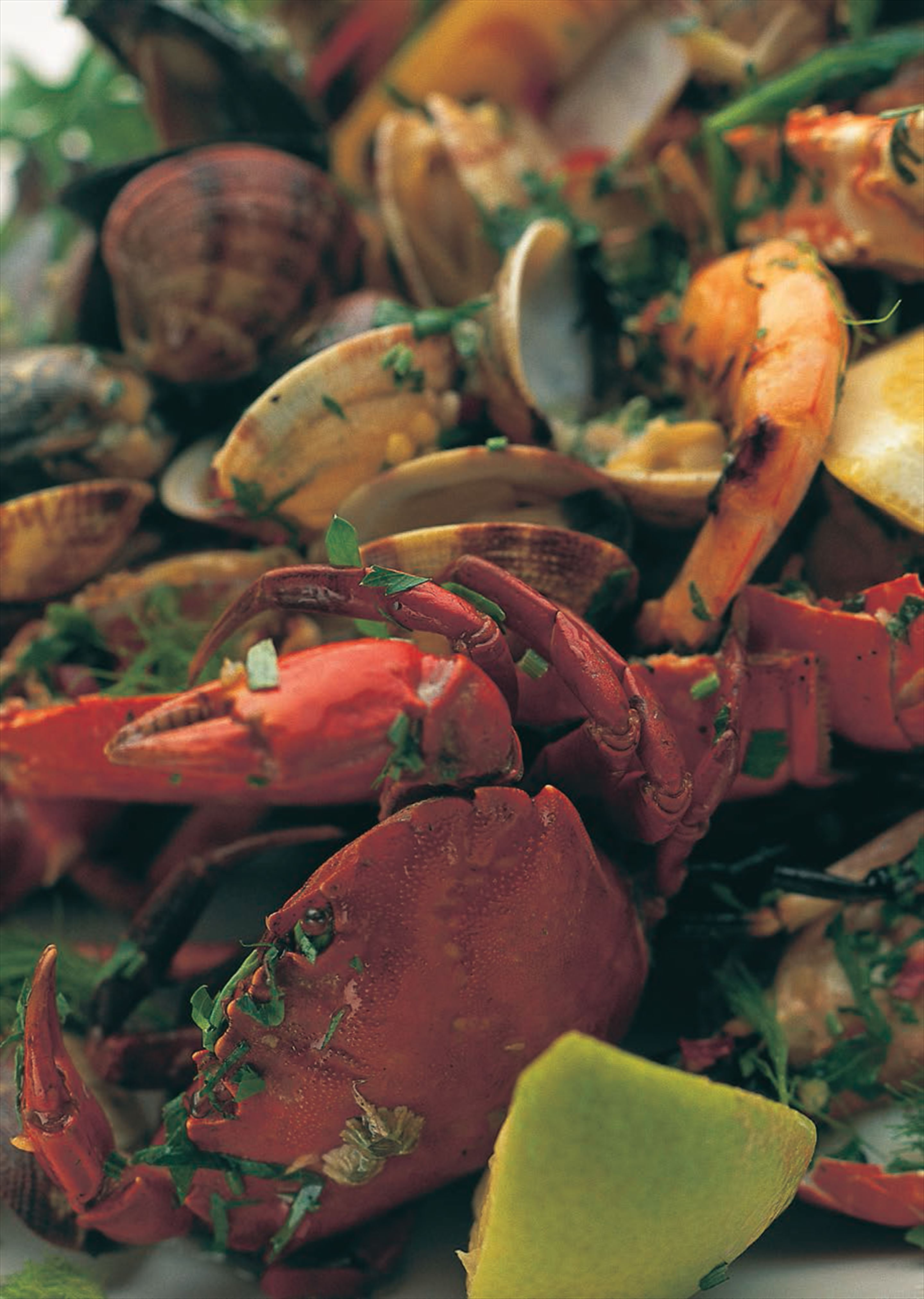 Roasted shellfish with fennel and chilli