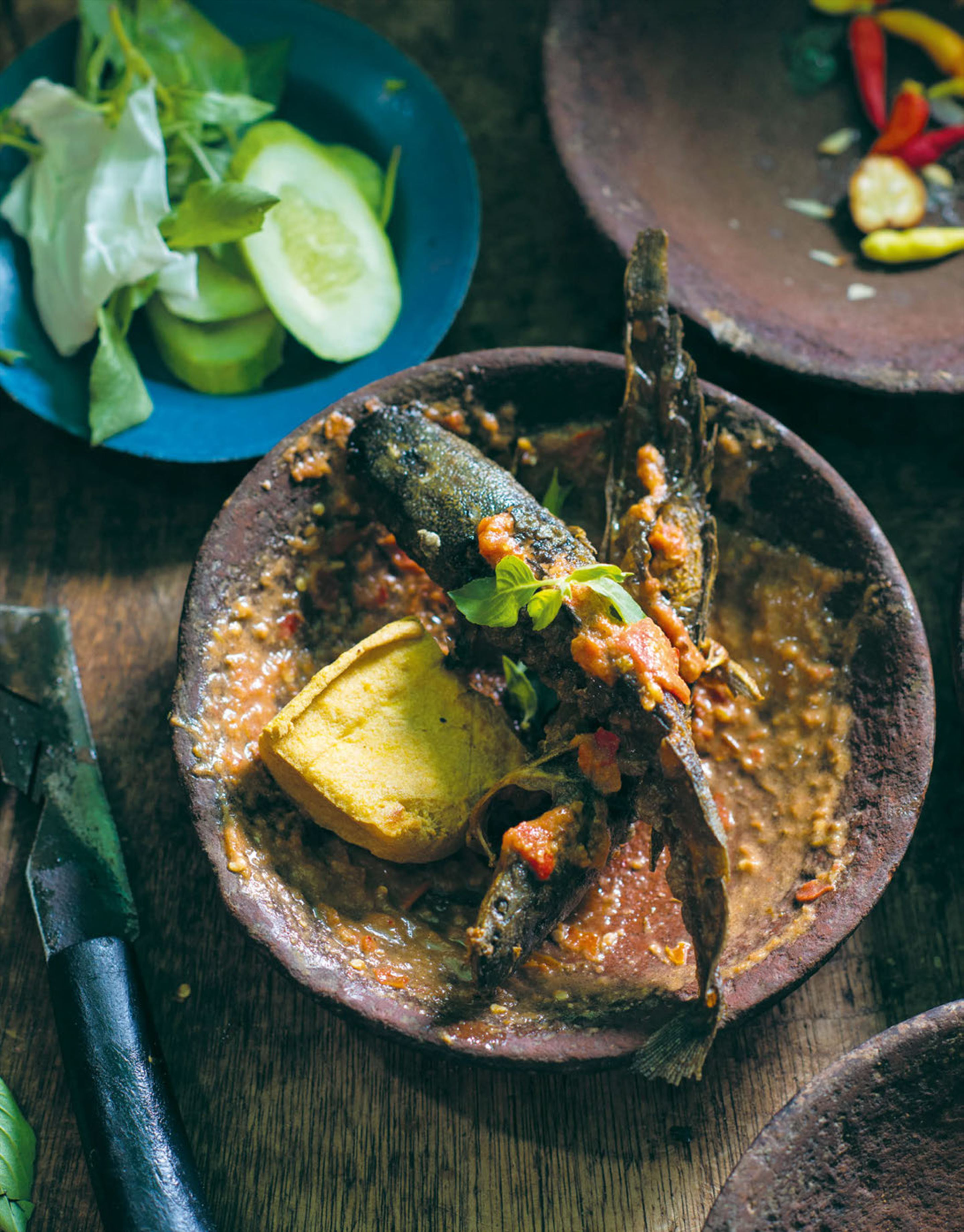 Deep - fried whole fish & tofu with tomato sambal