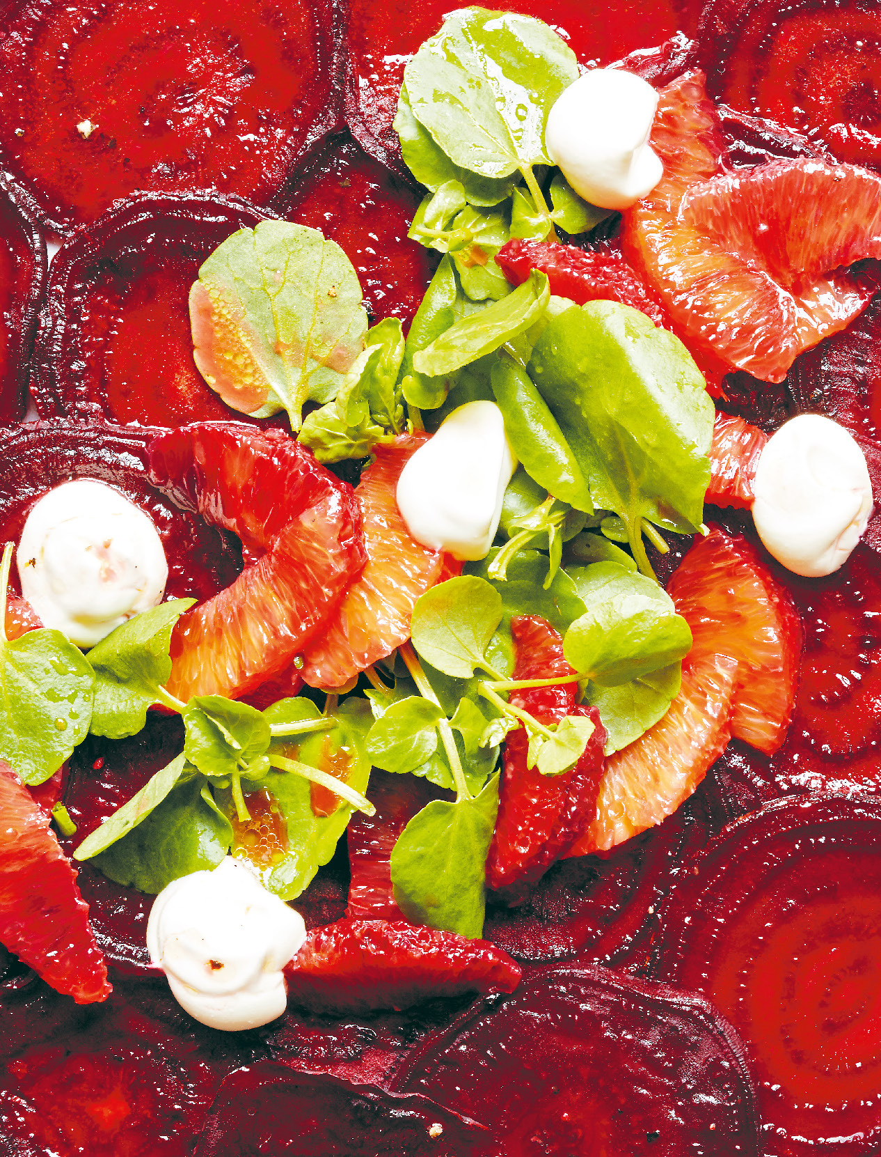 Roasted beetroot carpaccio with goat's curd and blood orange dressing