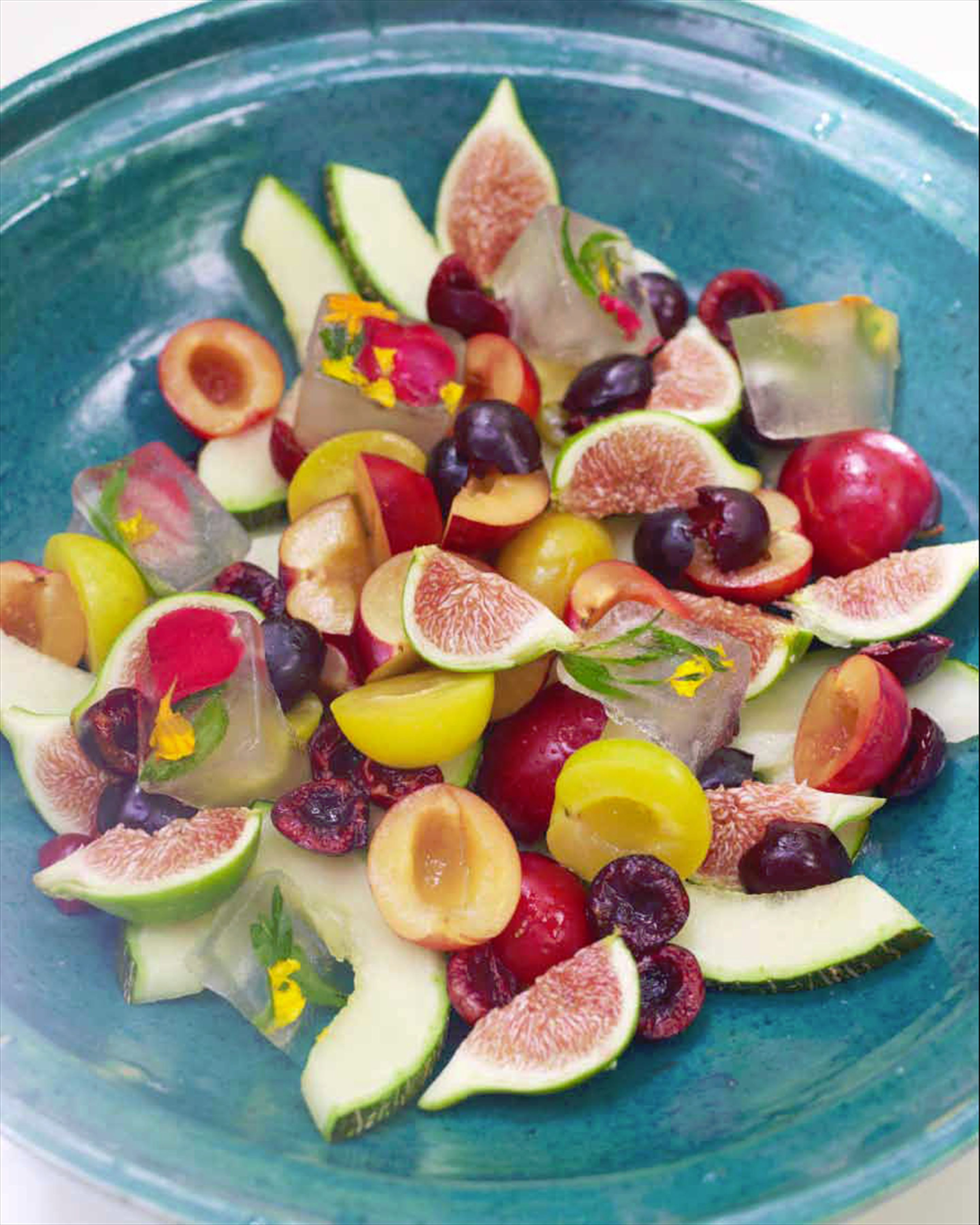 Moroccan fruit salad with lemon verbena iced syrup