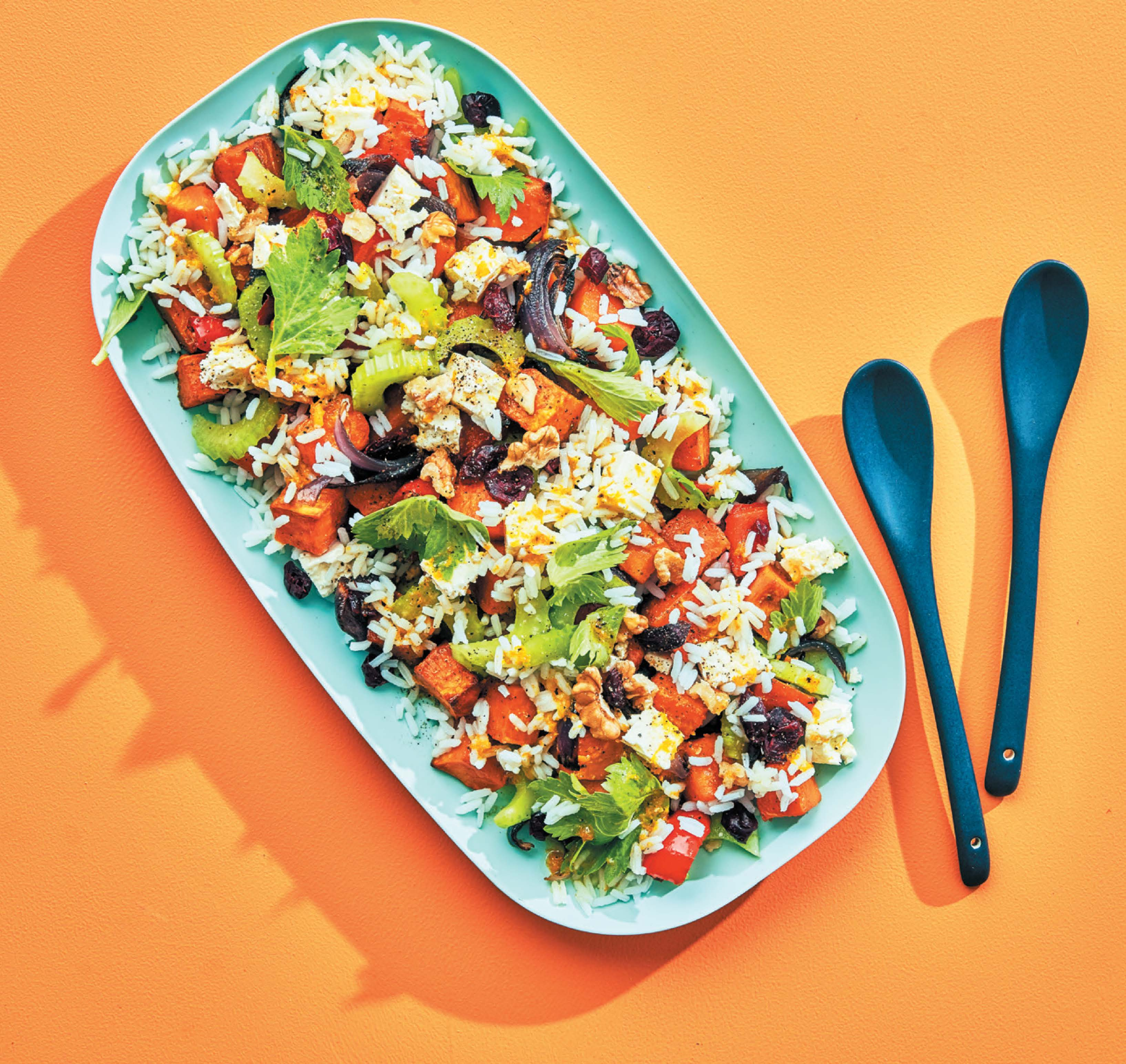 Sweet potato and rice salad with orange cumin dressing