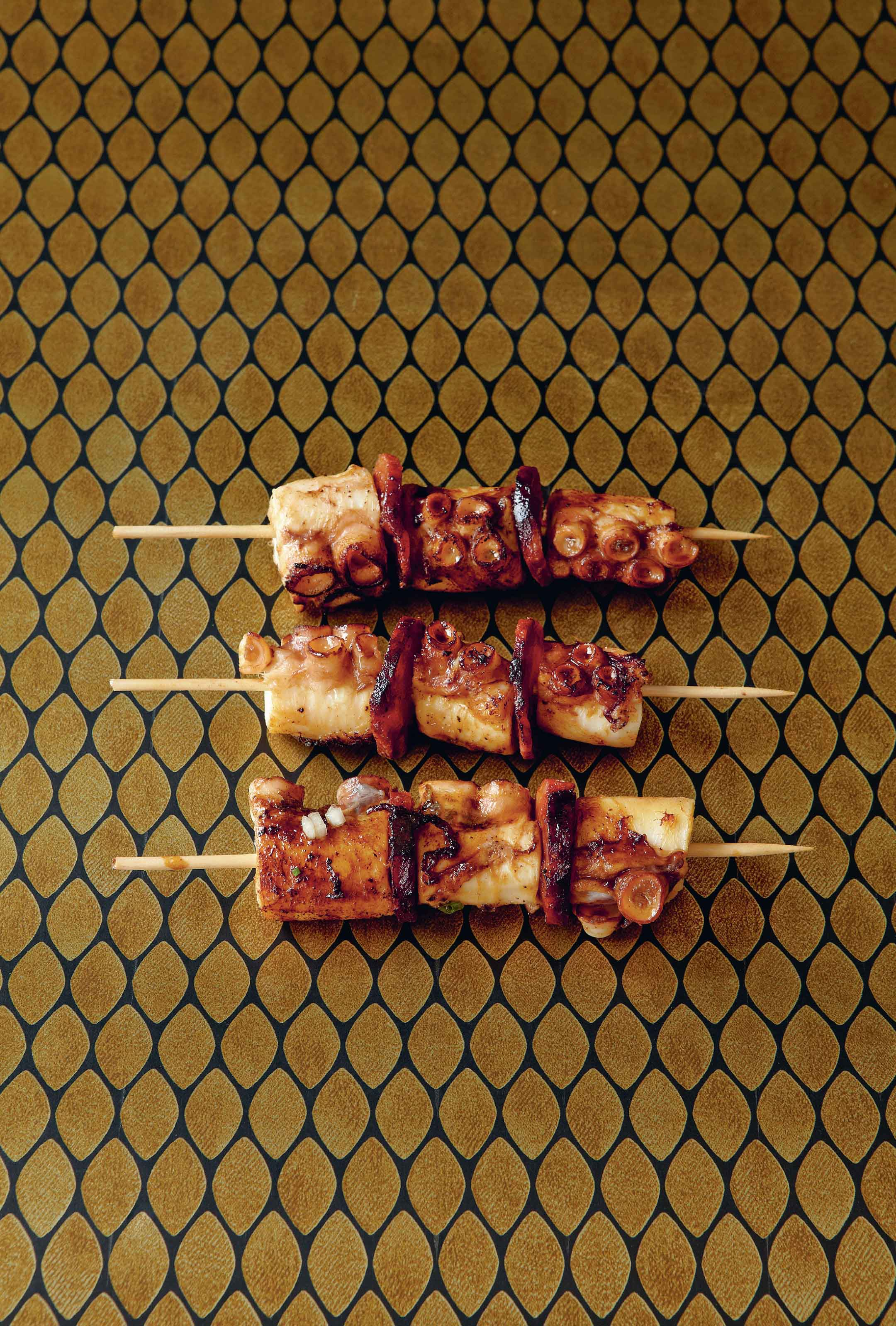 Octopus and chorizo kebabs