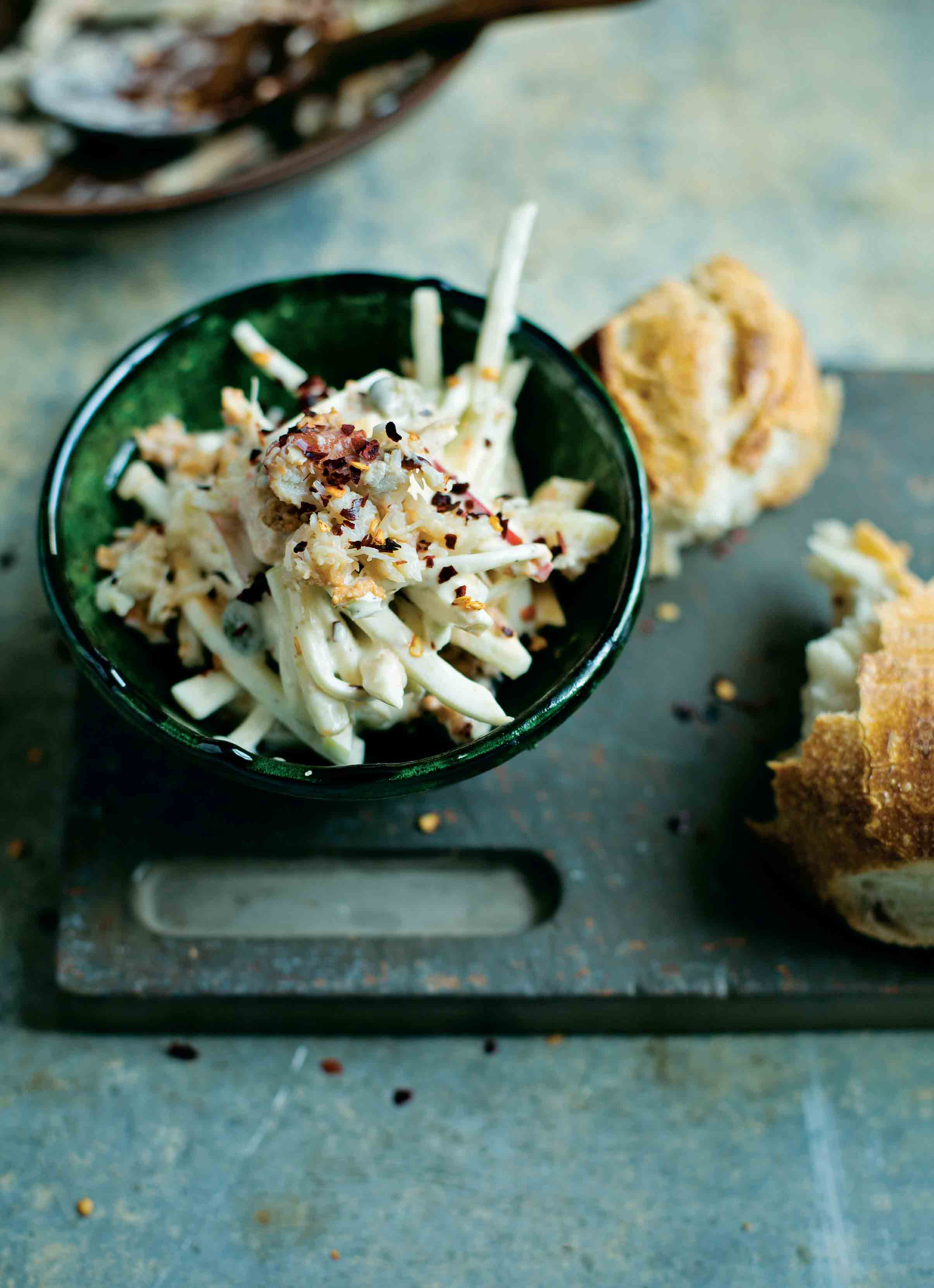 Celeriac and apple rémoulade with crab