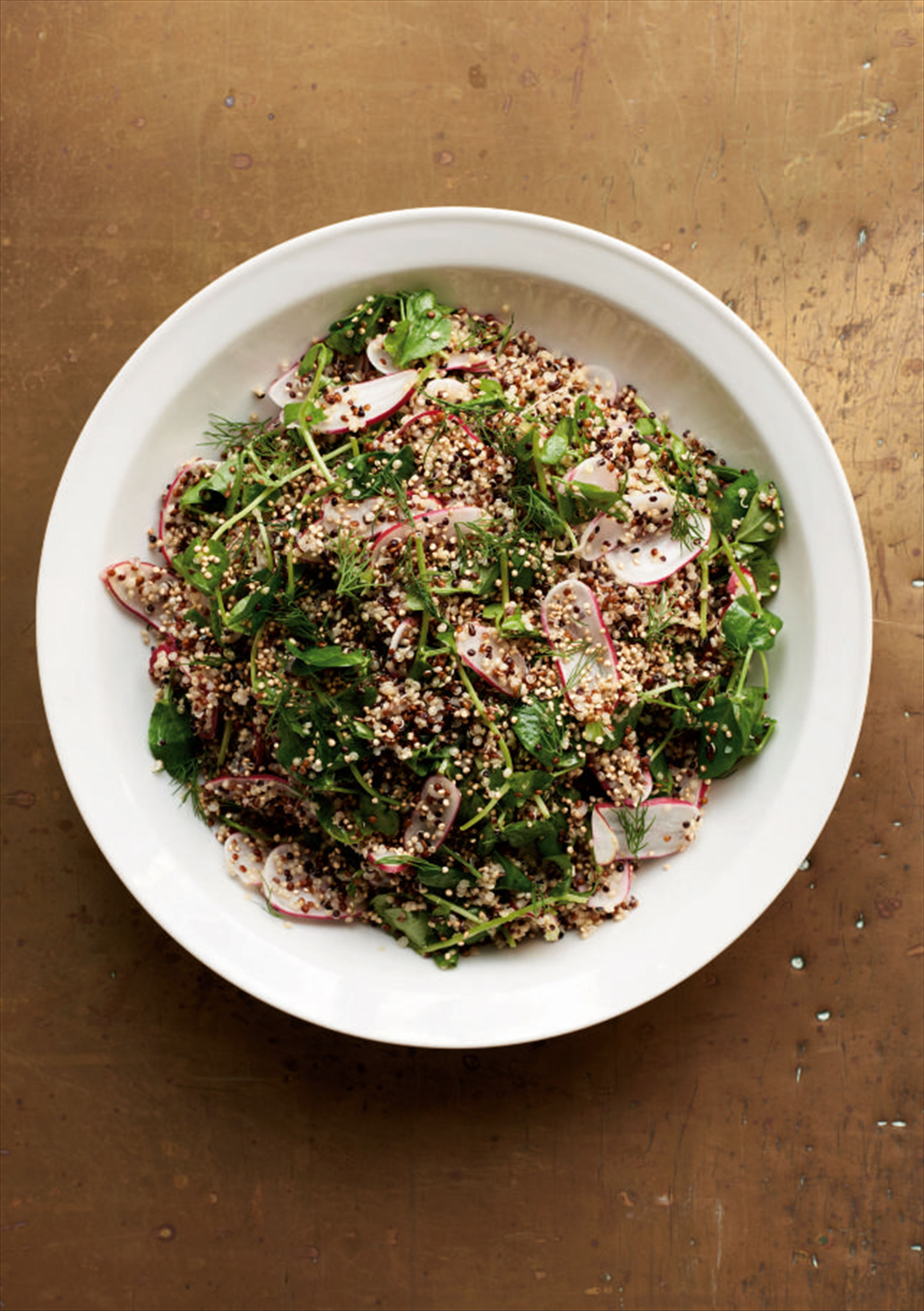 Mixed quinoa with radish and pea shoots