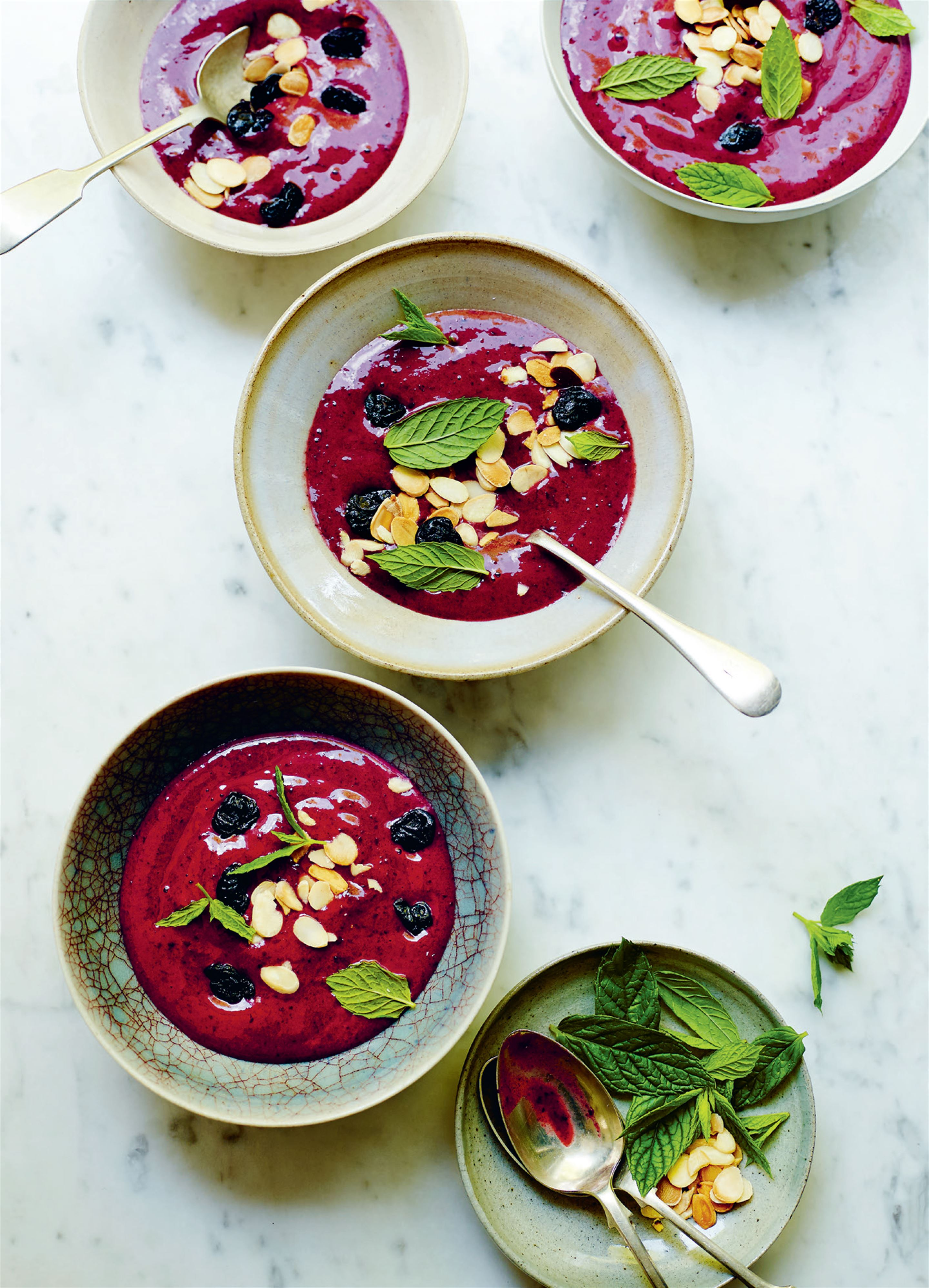 Cherry and garden mint smoothie bowl