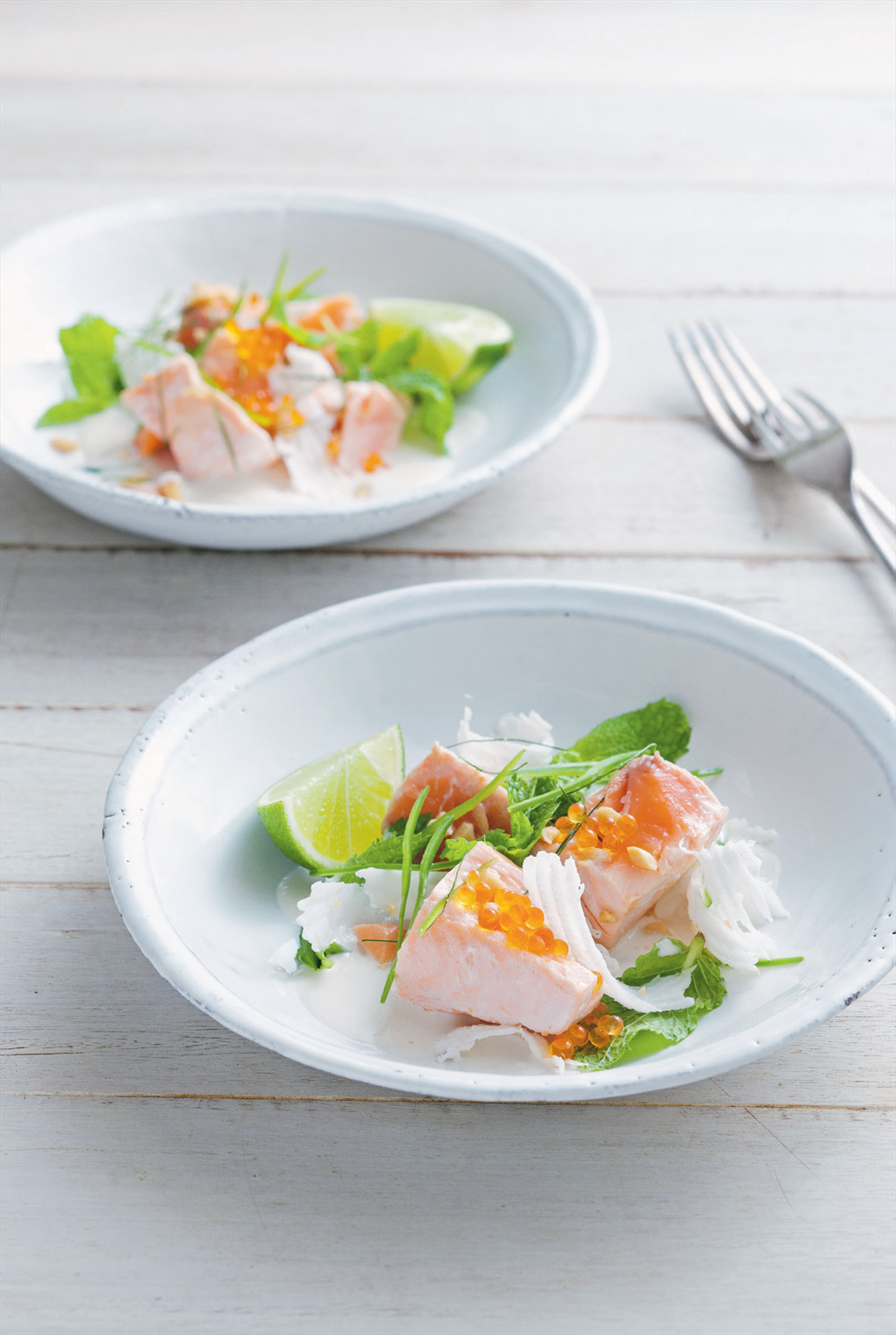 Poached ocean trout salad with fresh coconut, mint, chilli and peanuts