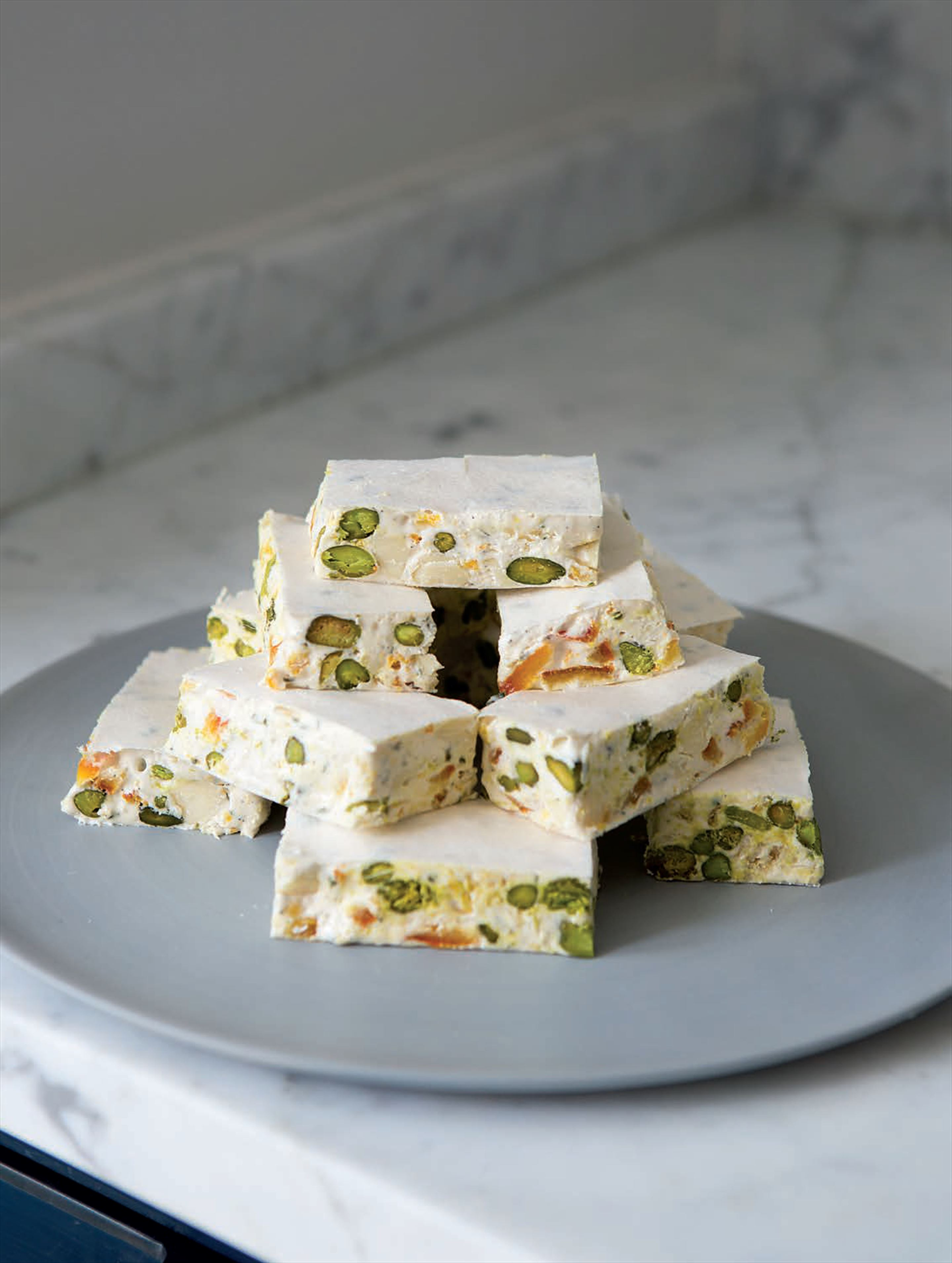 Candied blood orange and white chocolate nougat