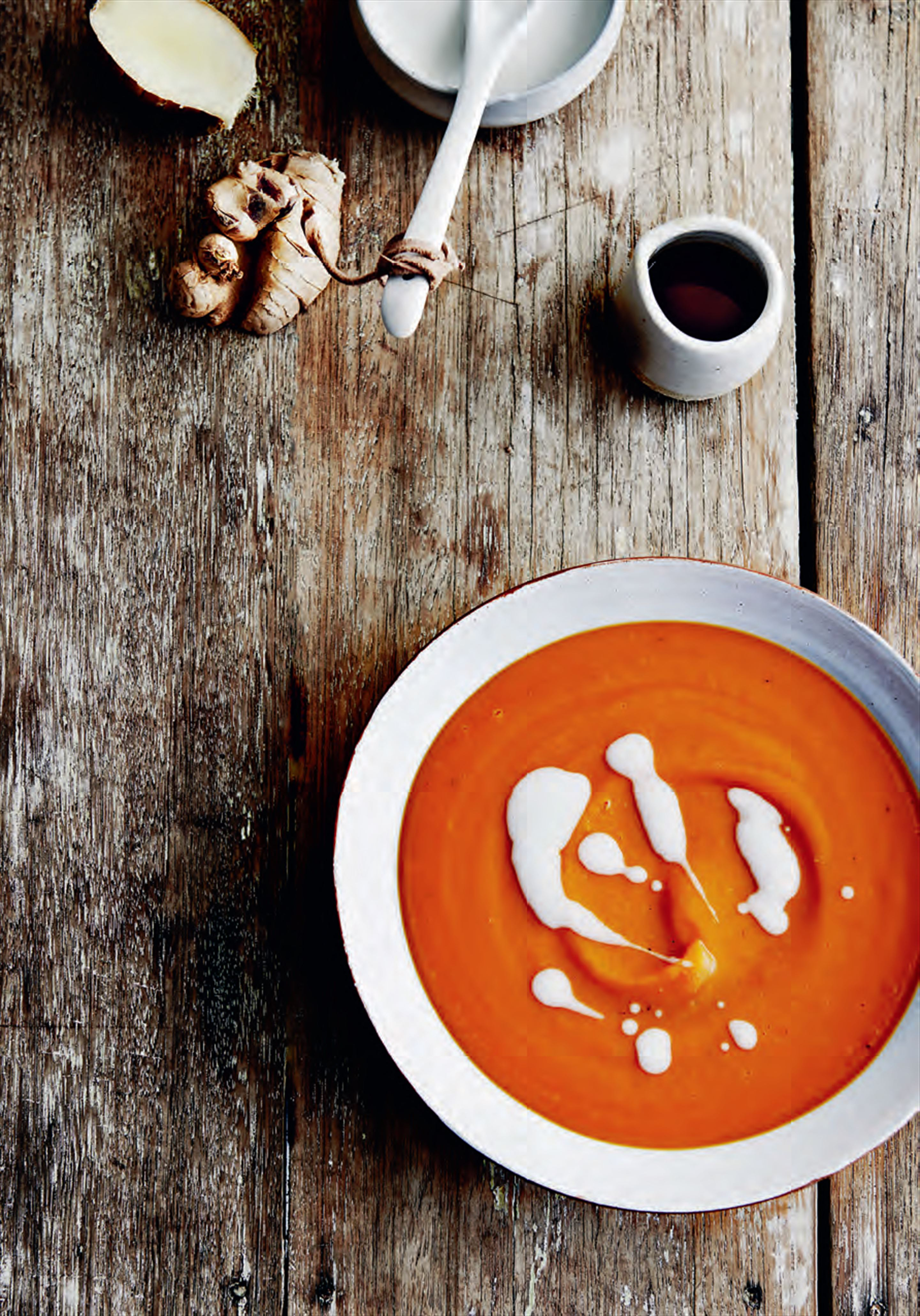 Sweet potato, ginger, tamari & maple soup