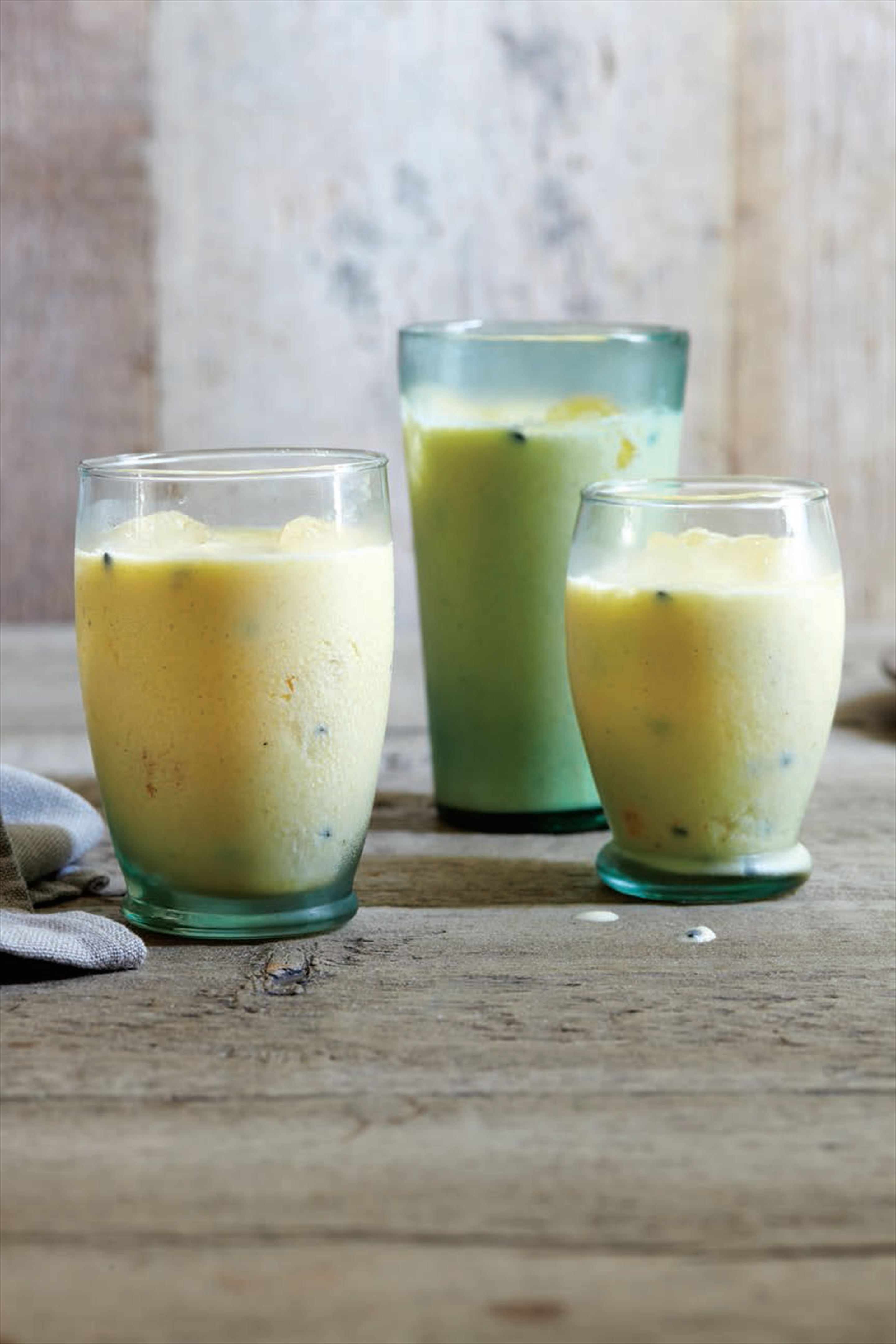 Mango, passion fruit and ginger smoothie