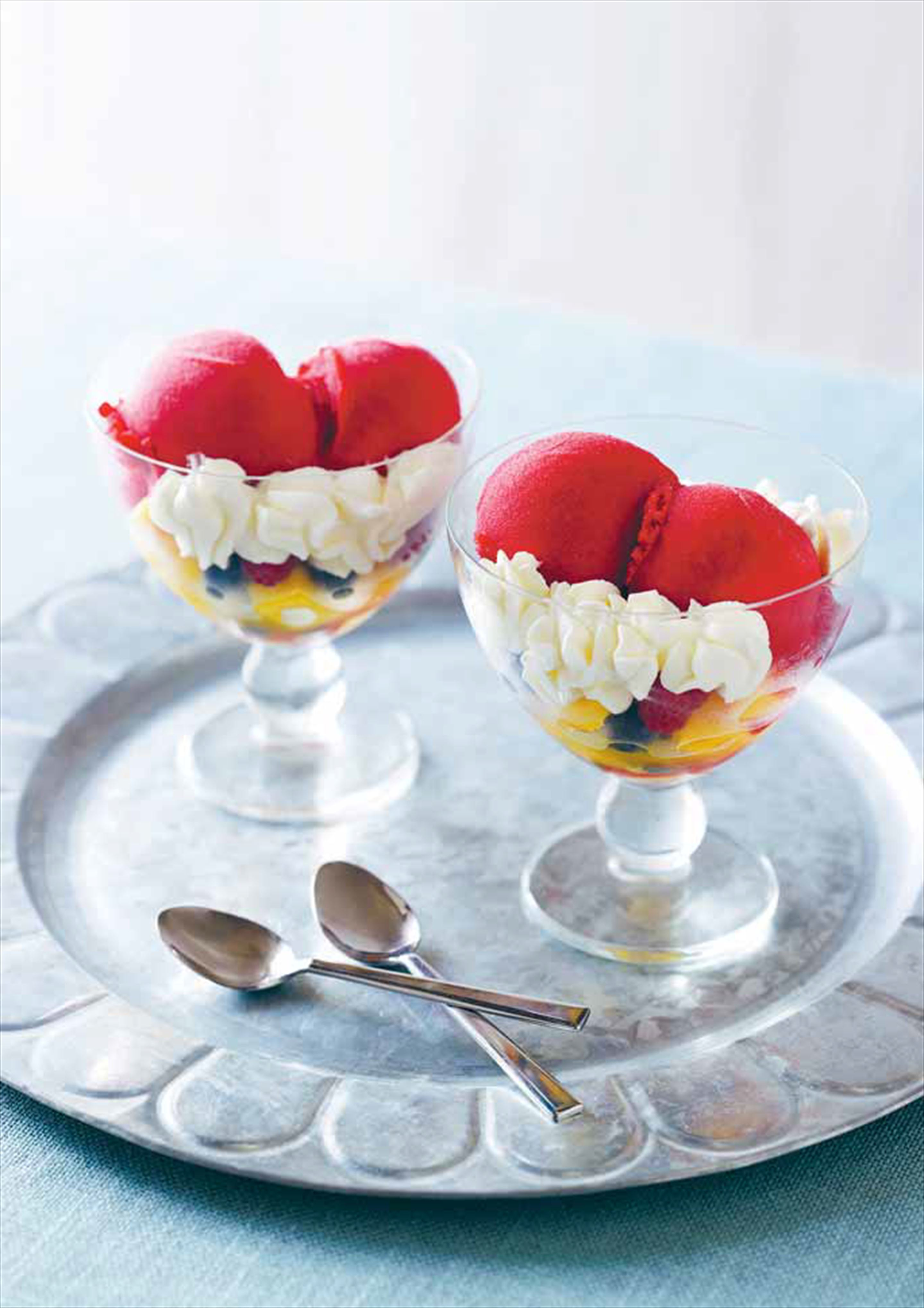 Raspberry sorbet in a fruit coupe