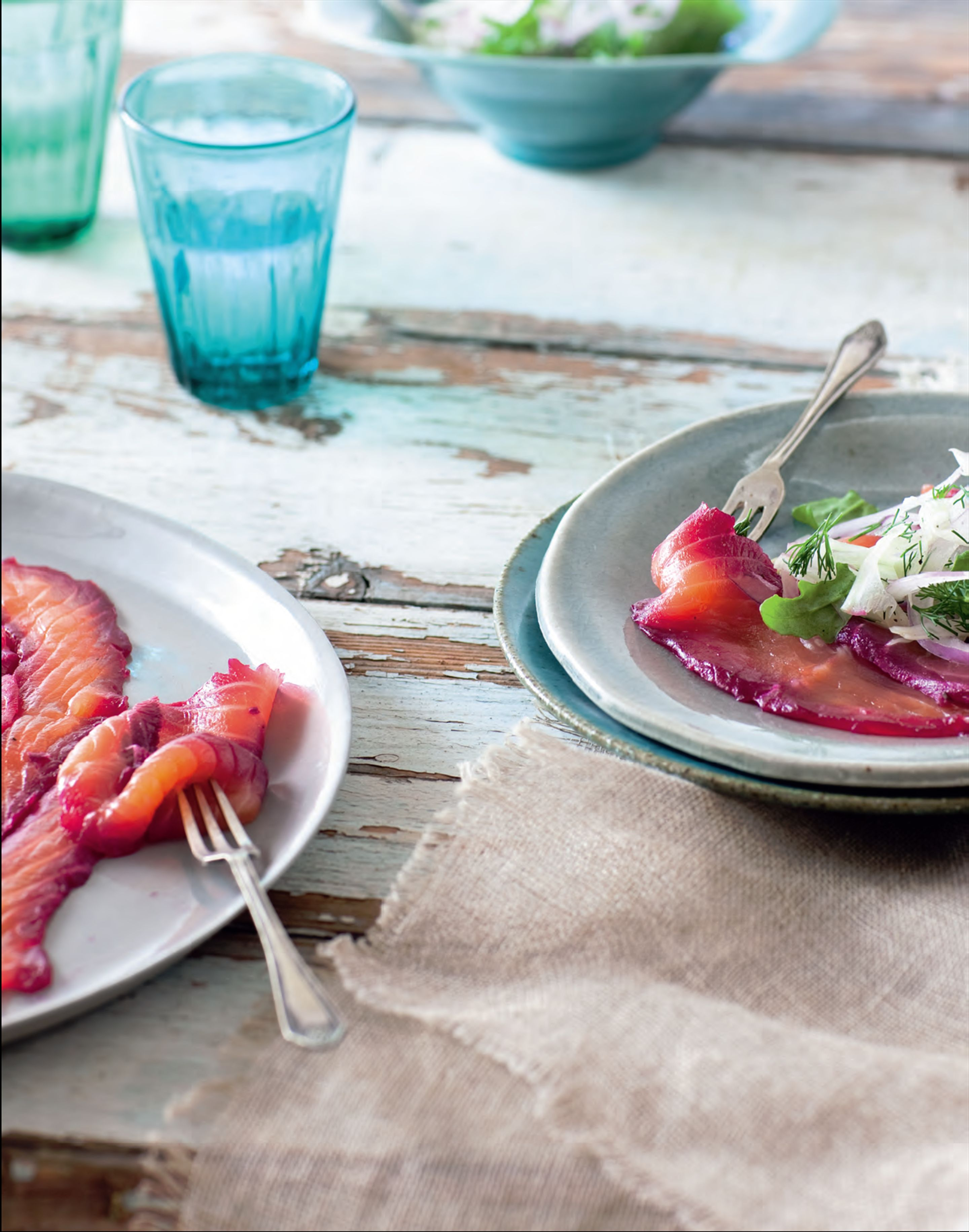 Beetroot-cured salmon with fennel salad