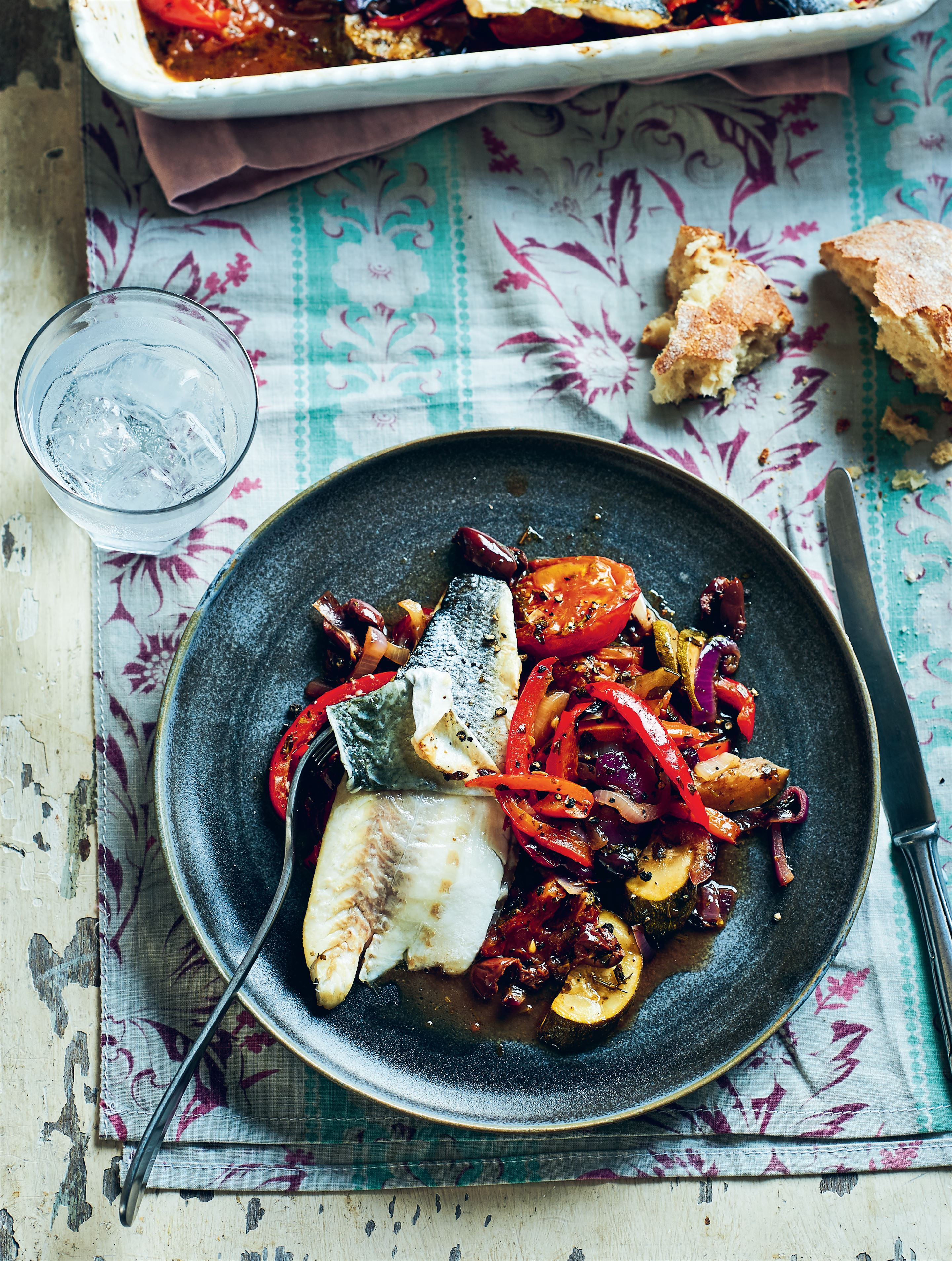 Sea bass with stewed summer vegetables