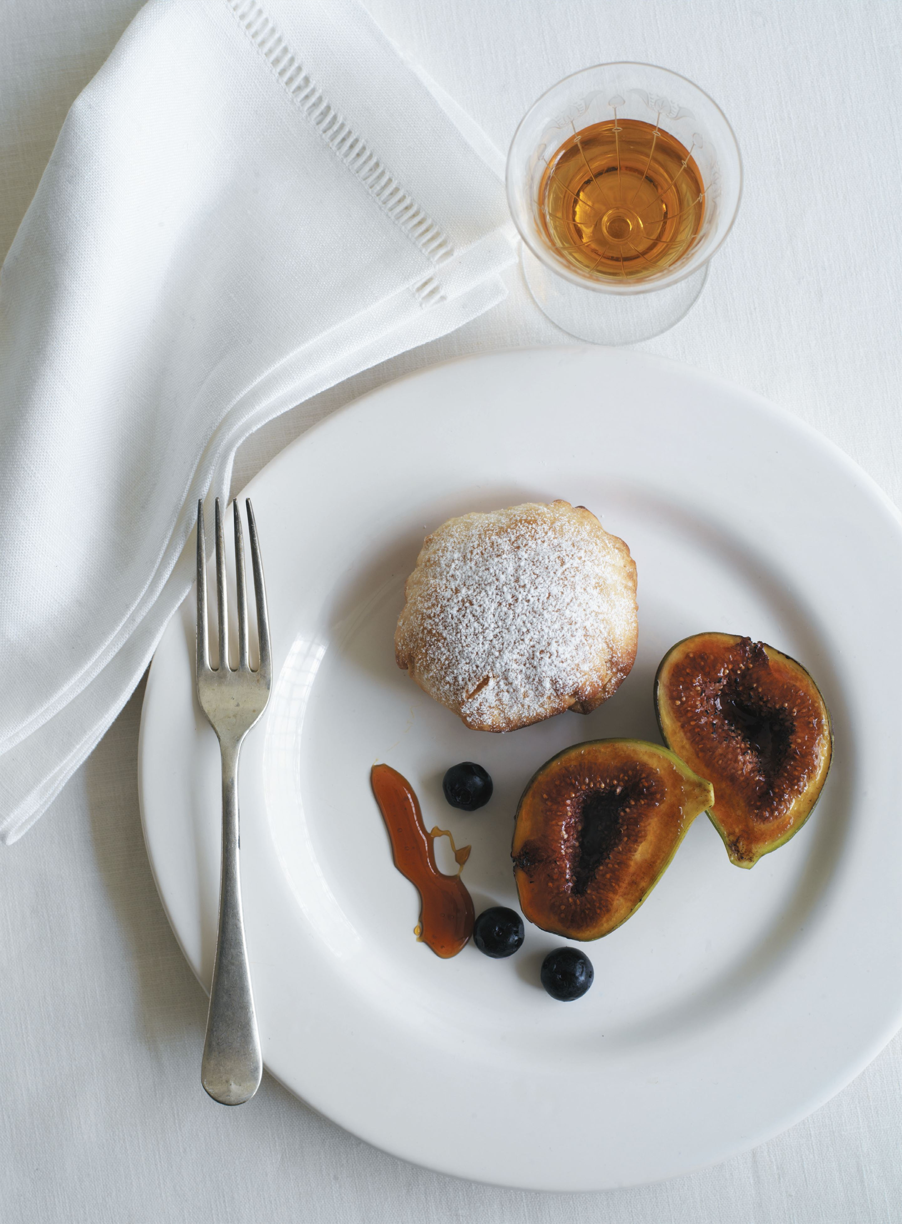Honey-curd pies with rose-scented figs