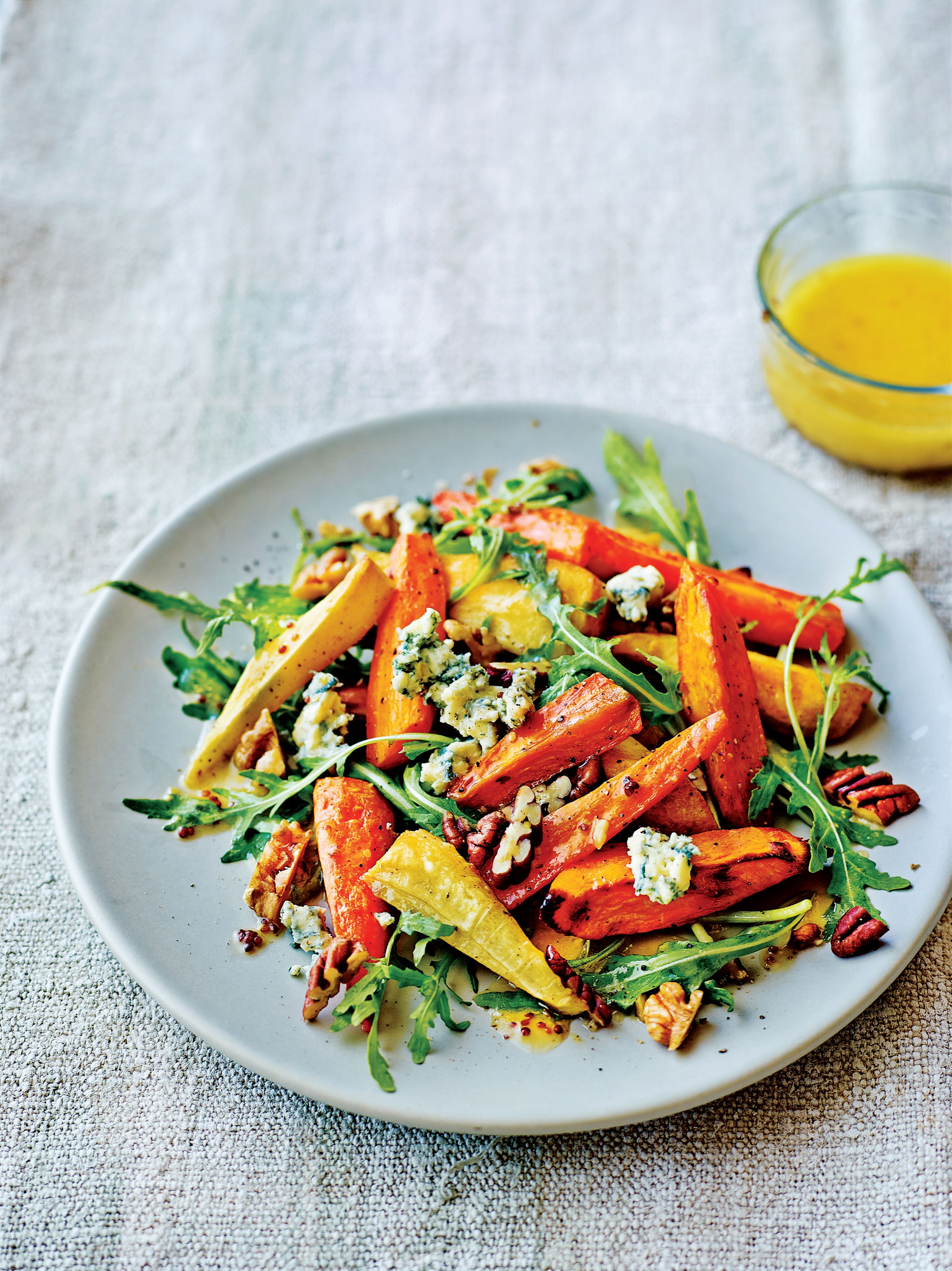 Roasted root and rocket salad with honey mustard dressing