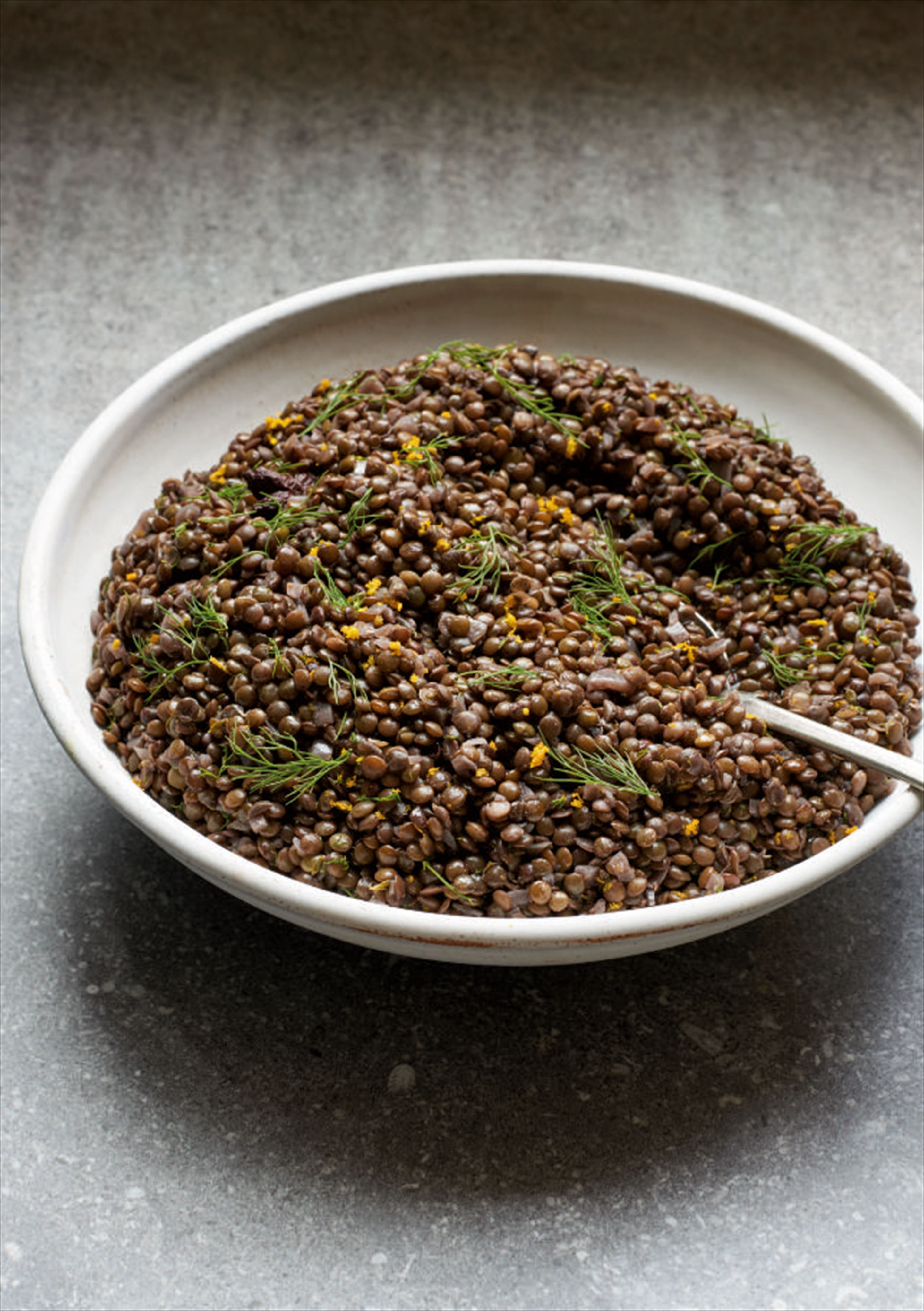 Red wine, anise and orange lentils