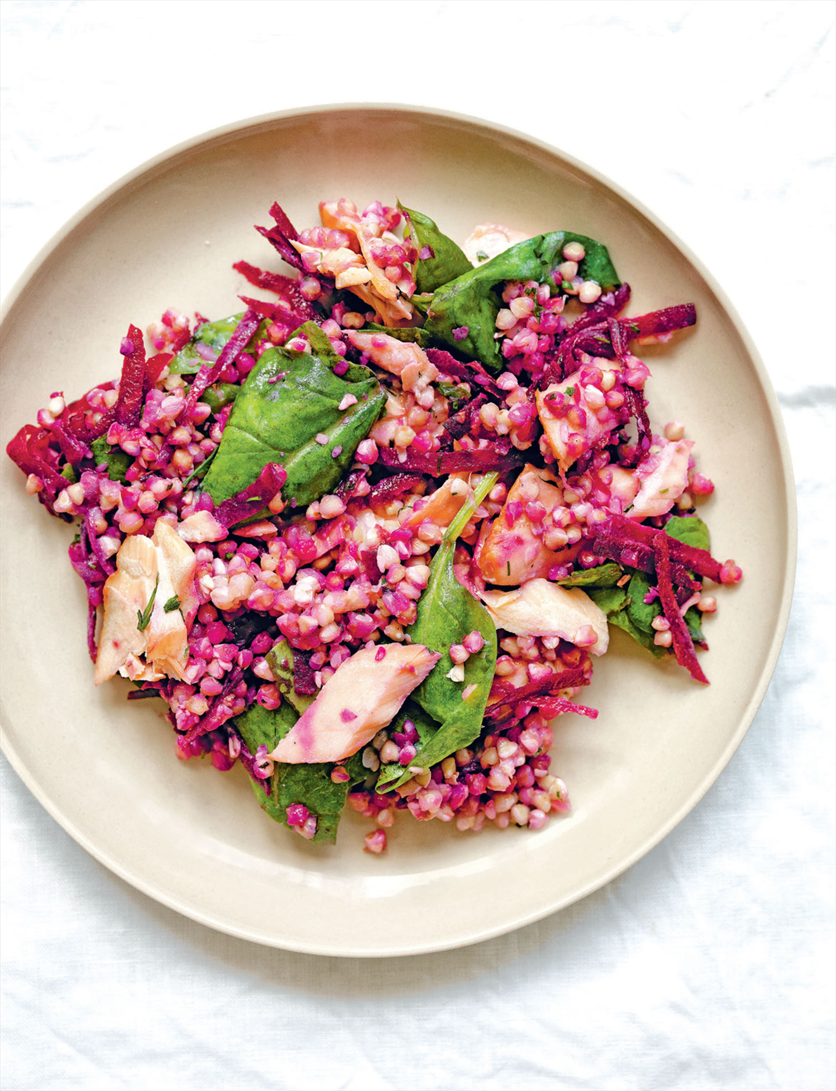 Buckwheat & salmon salad with beetroot & spinach