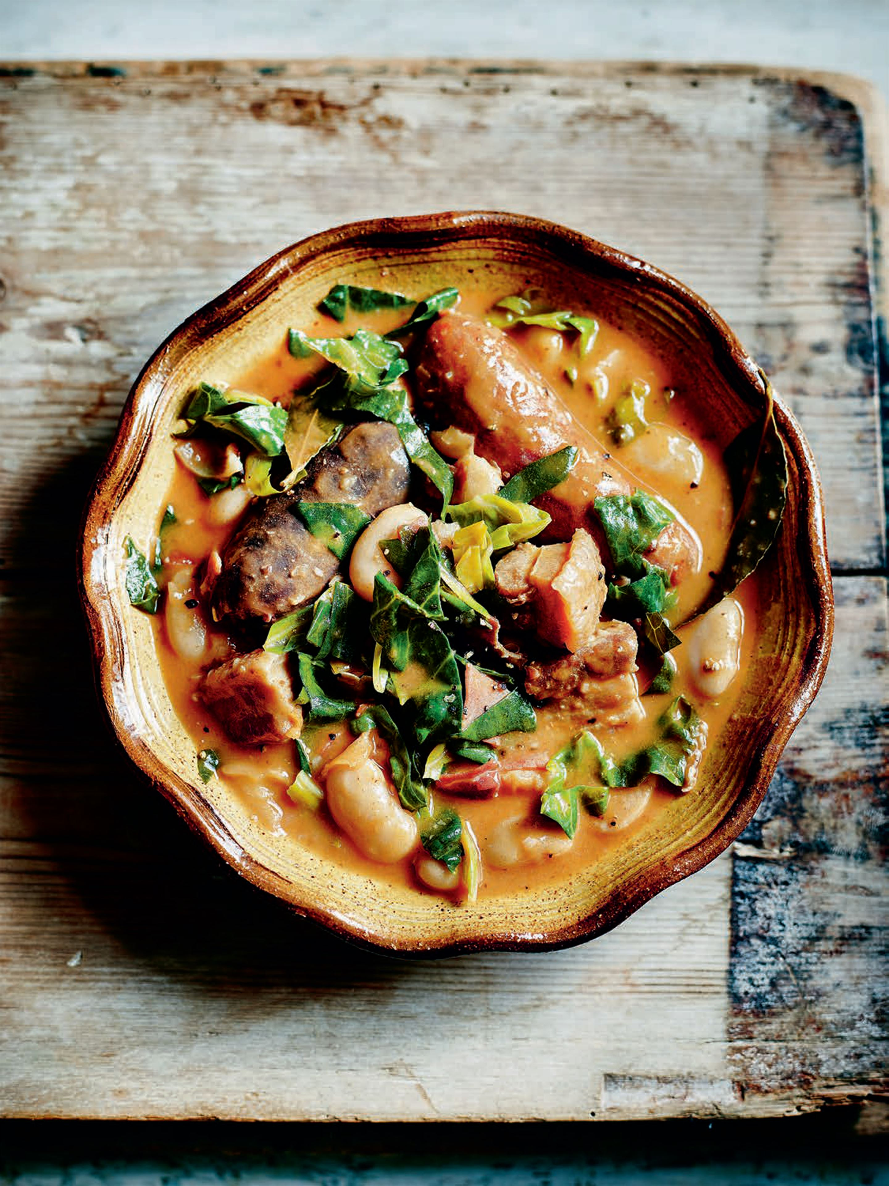 Chorizo, greens and bean stew