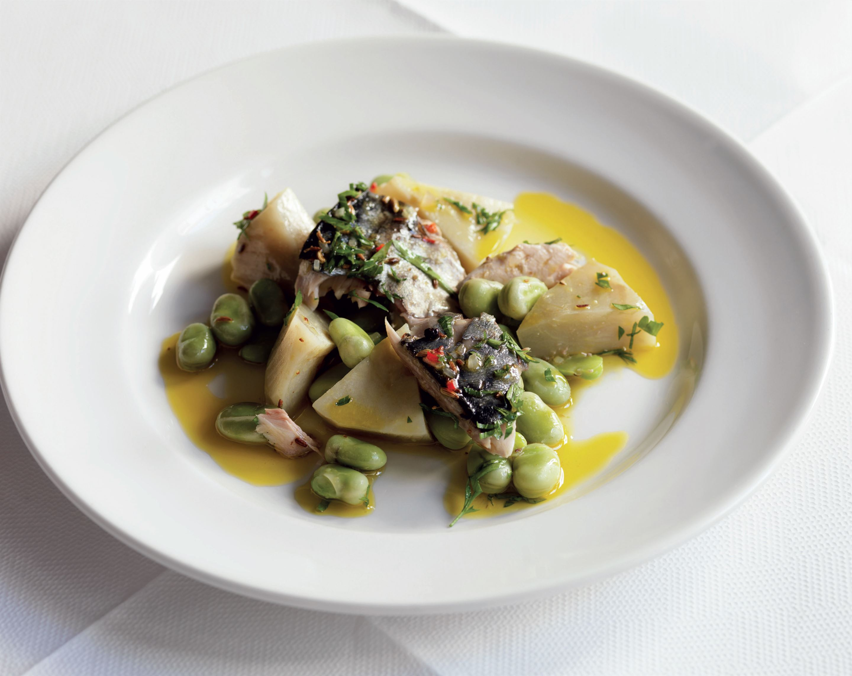 Mackerel with broad beans and artichokes
