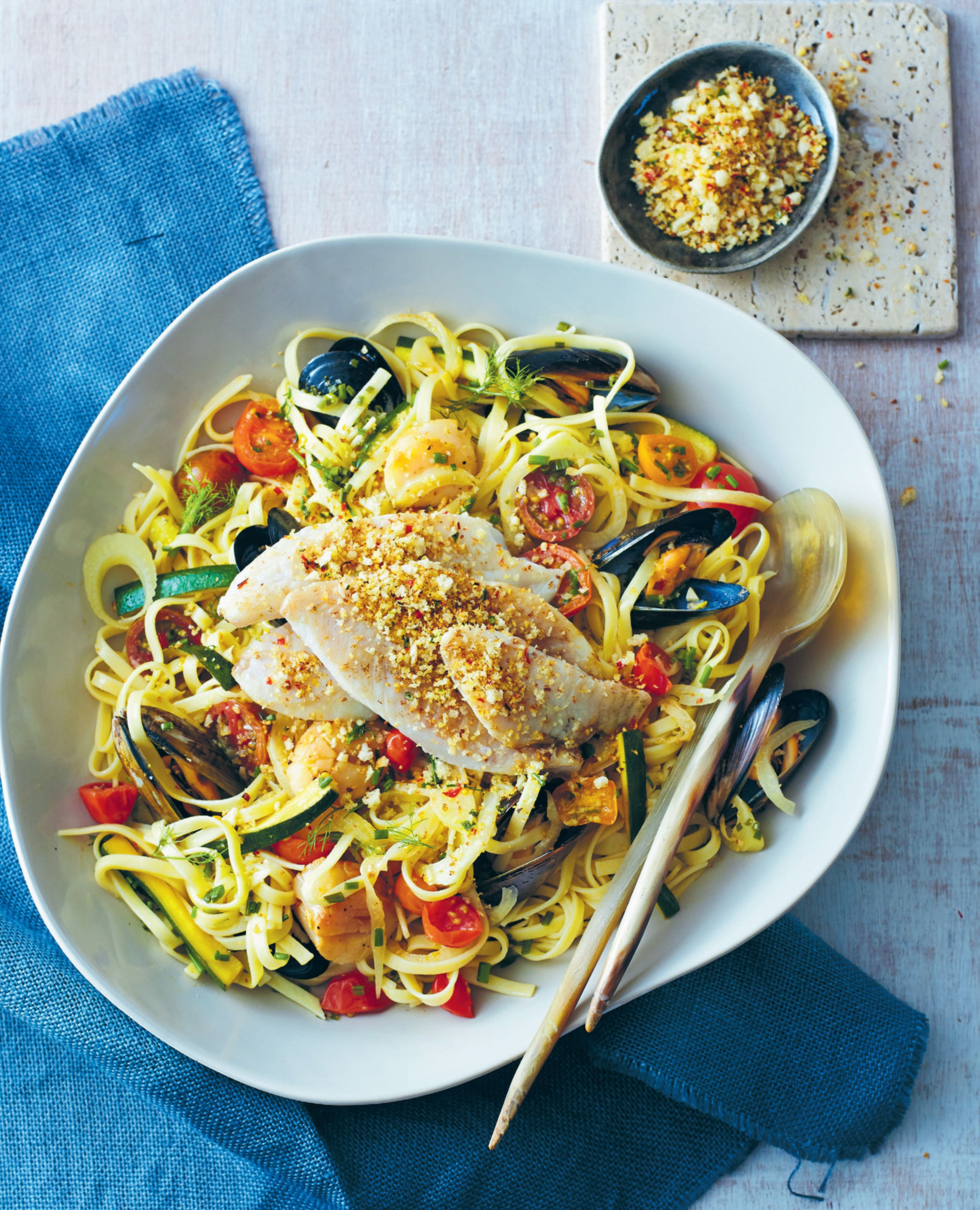 Linguine with seafood and garlic crumbs
