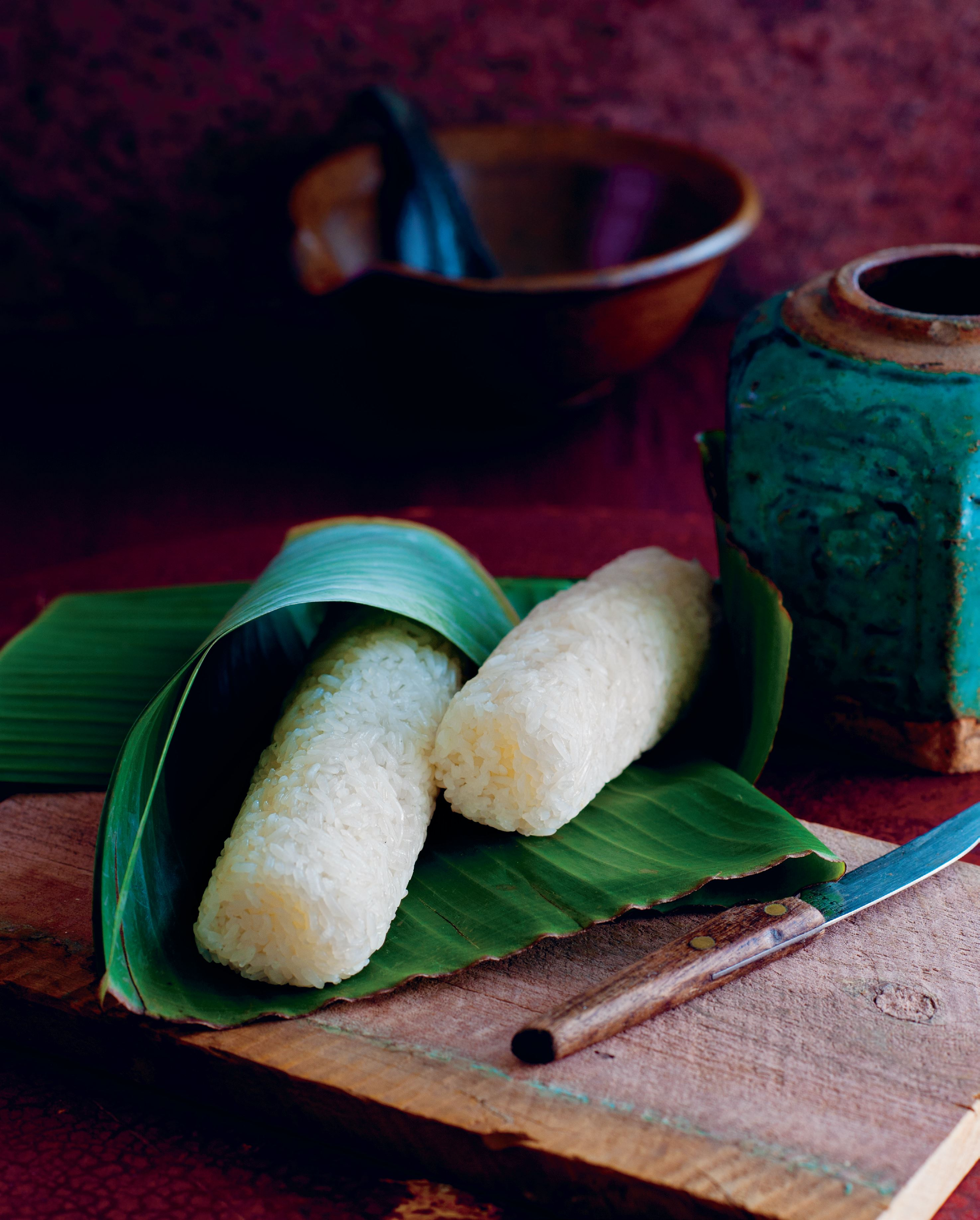 Sticky rice cooked in bamboo
