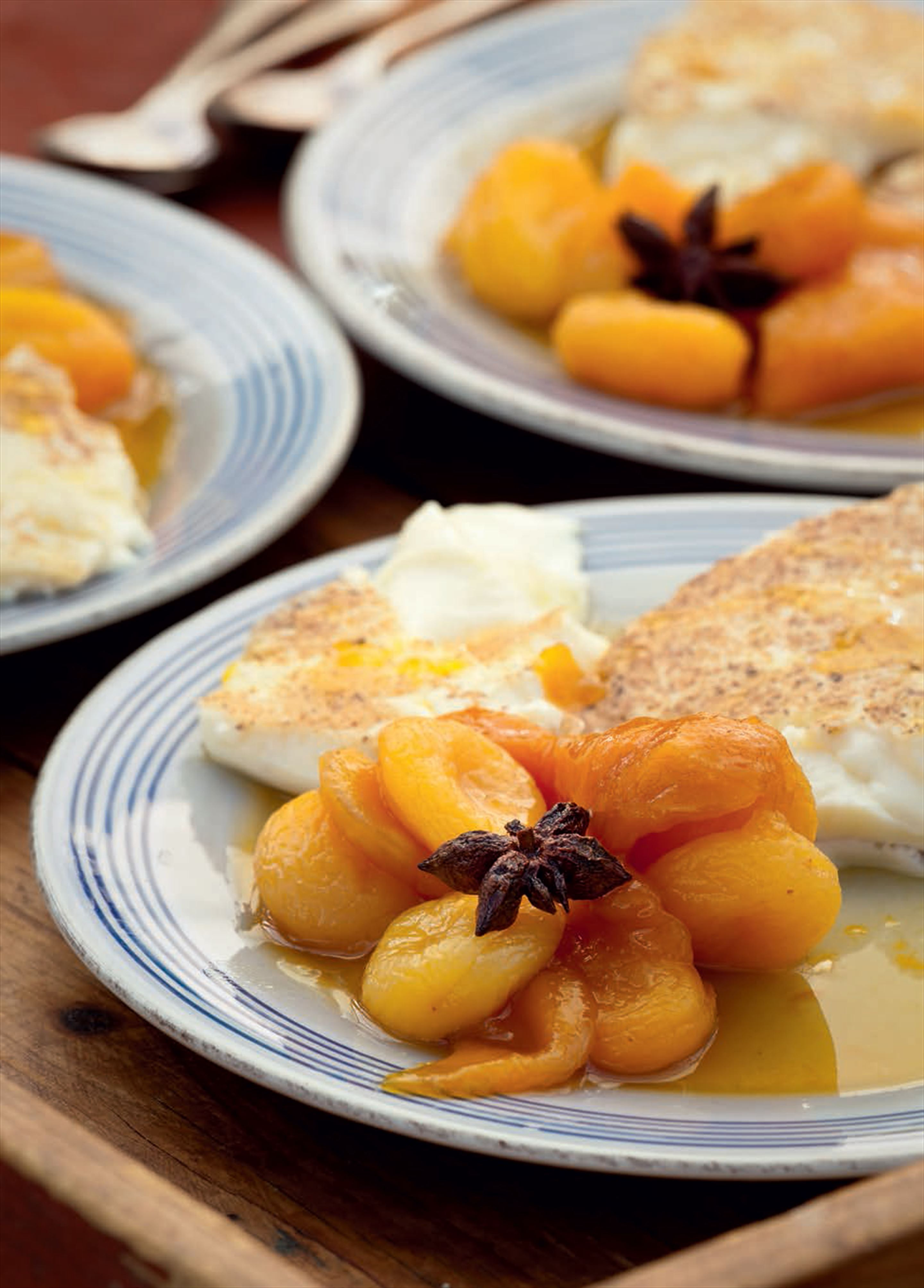Mango and apricot compote