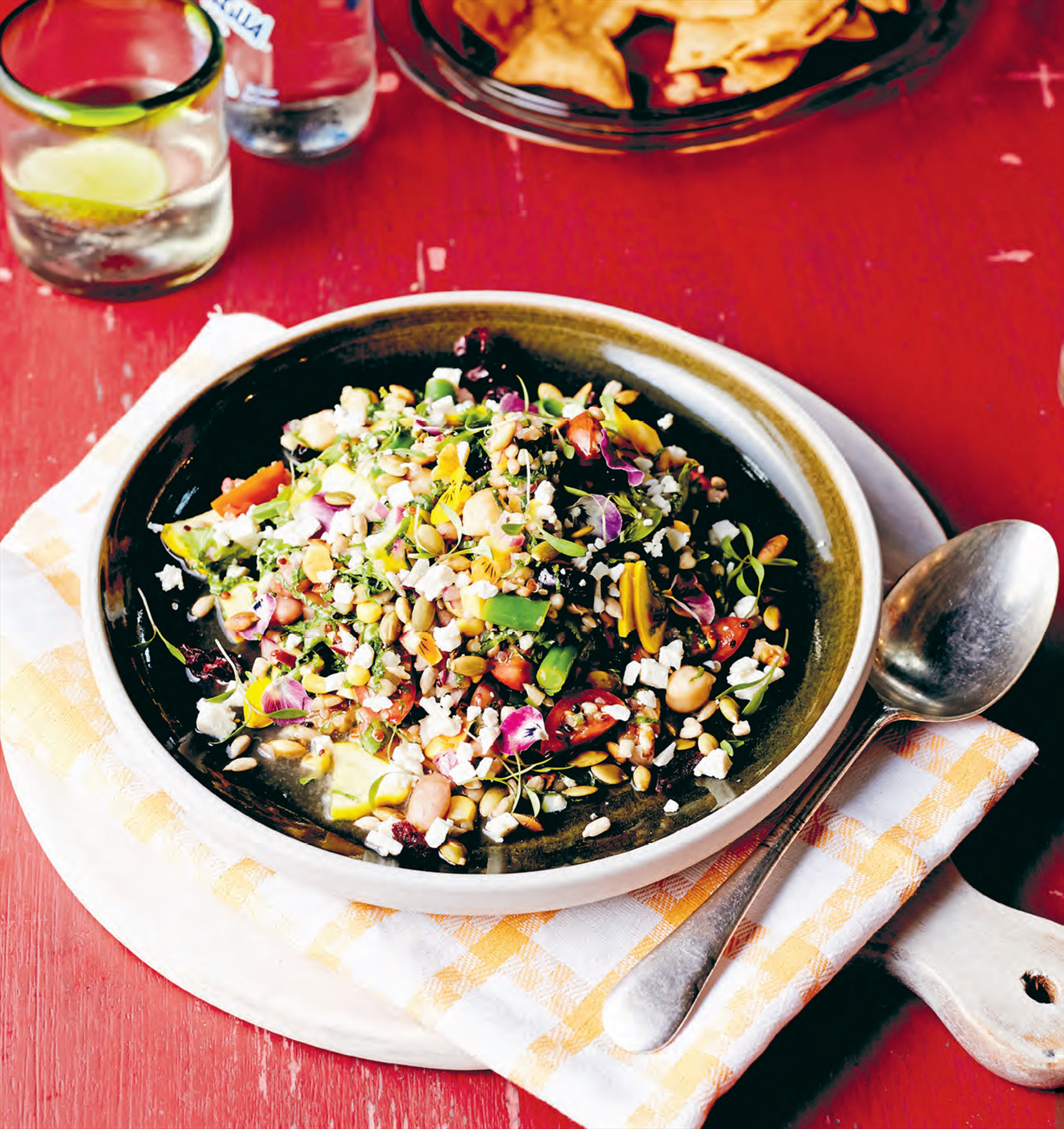 Super squash salad with grains, seeds & pulses
