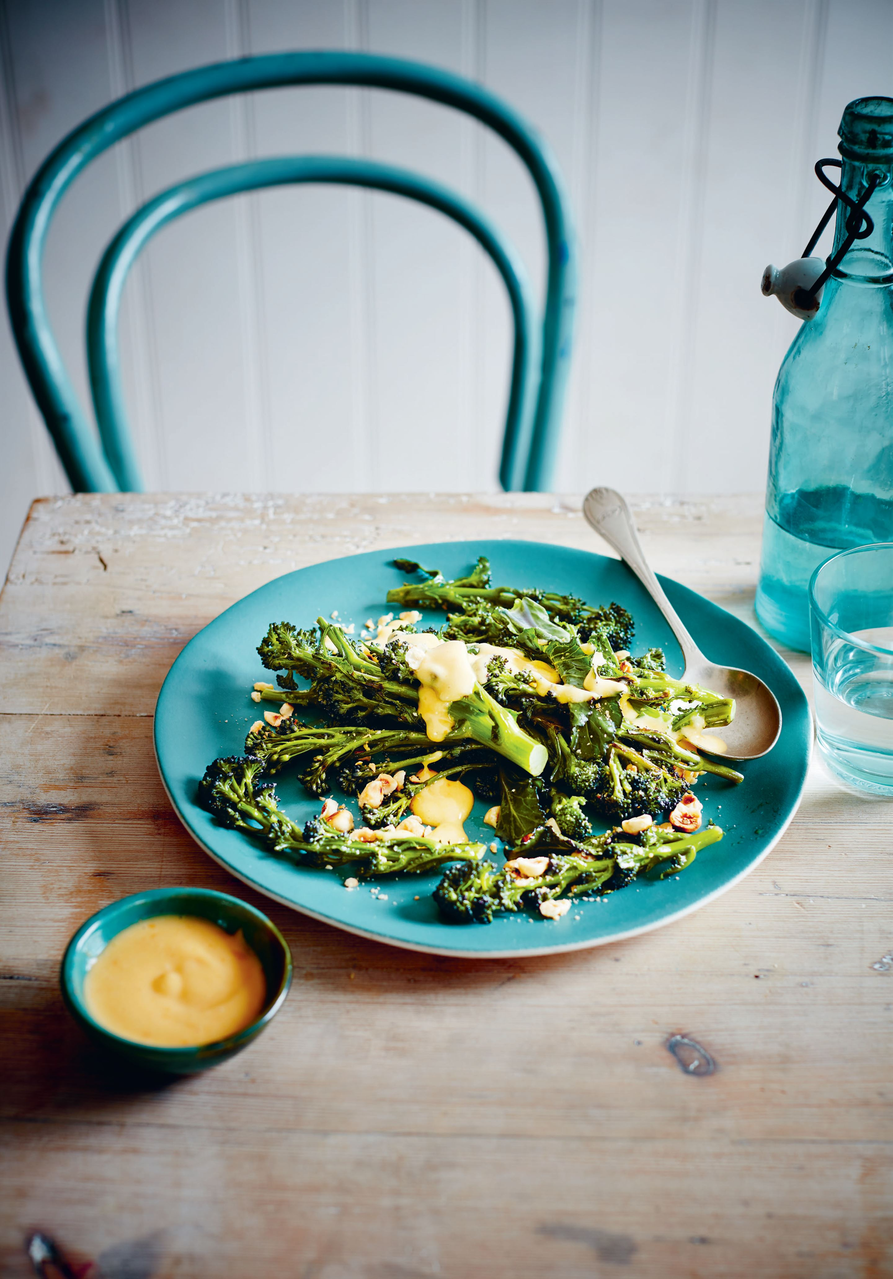 Sprouting broccoli with blood orange hollandaise