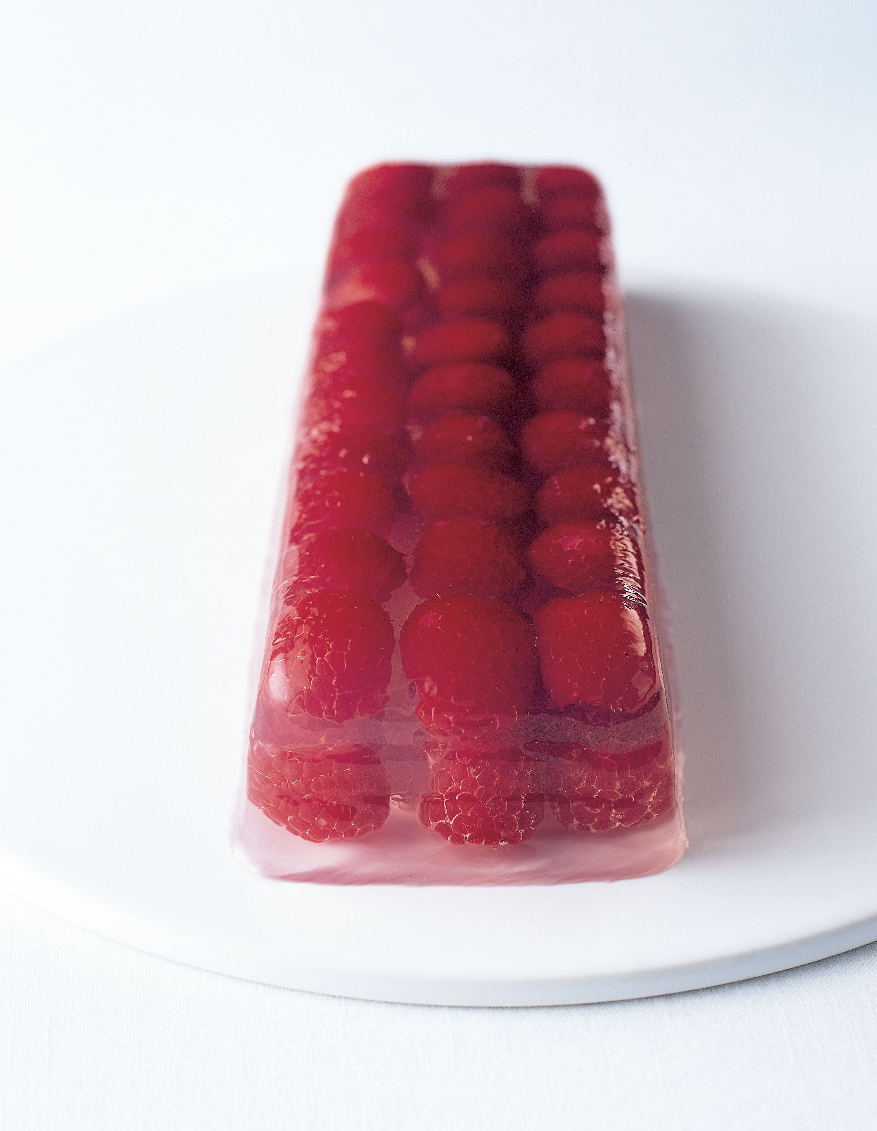 Jellied raspberry and vodka terrine with lime syrup