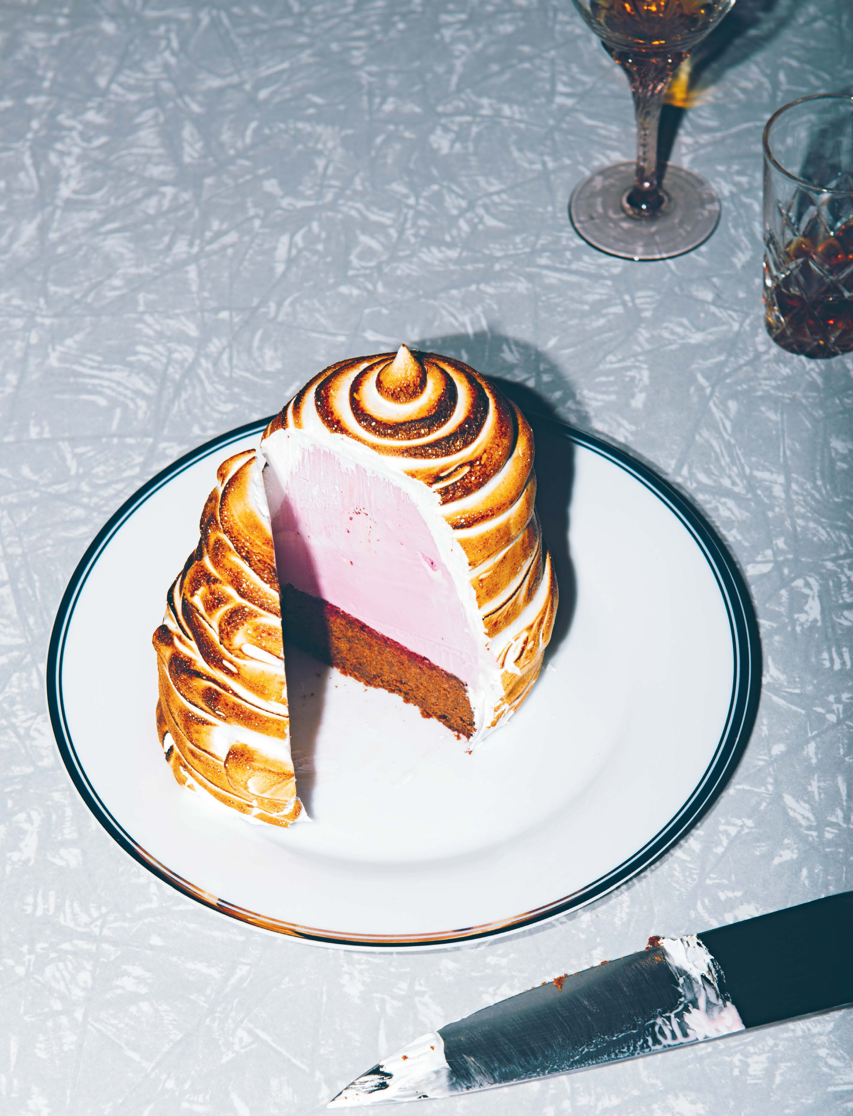 Raspberry and rose bombe alaska