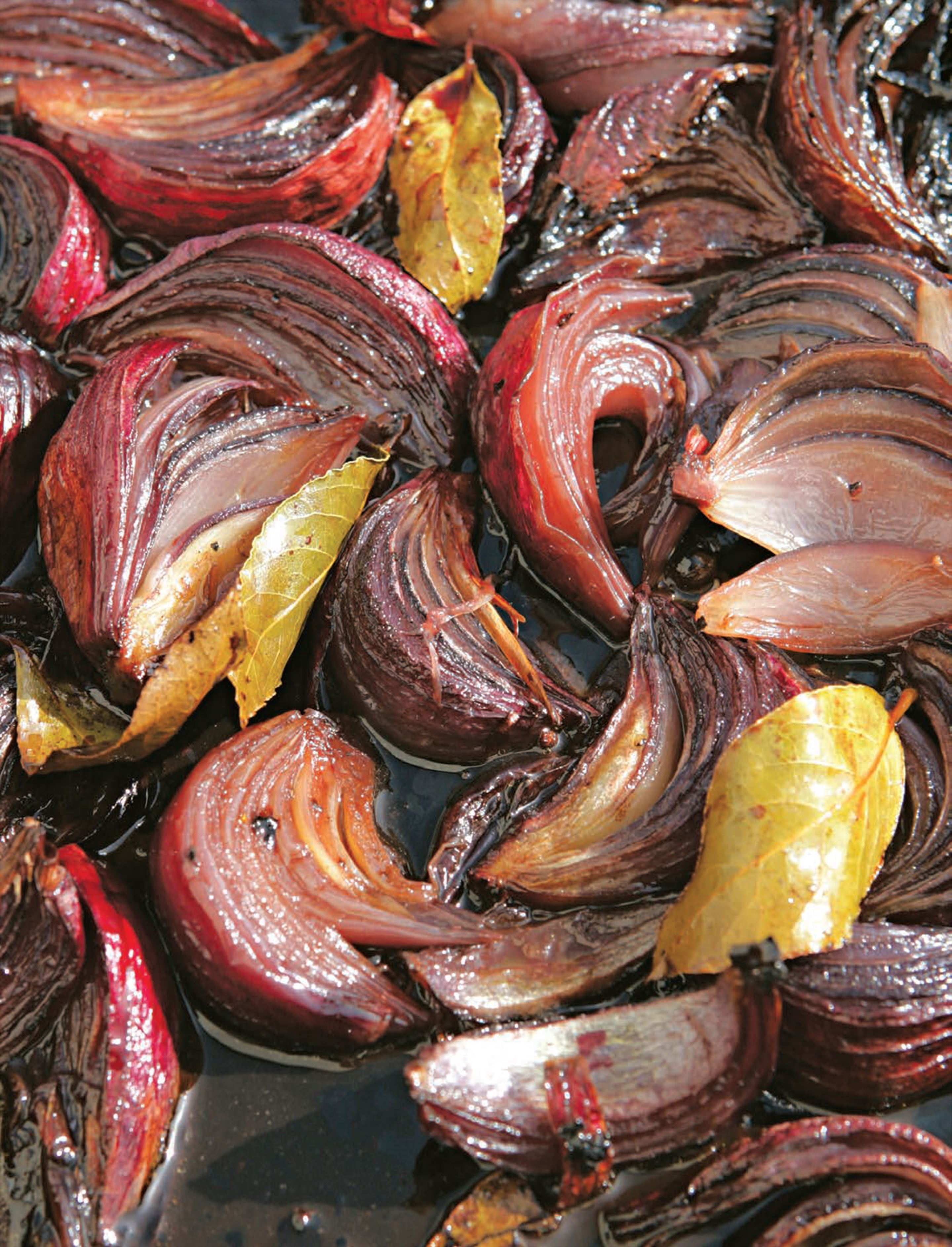 Roasted red onions with port and bay