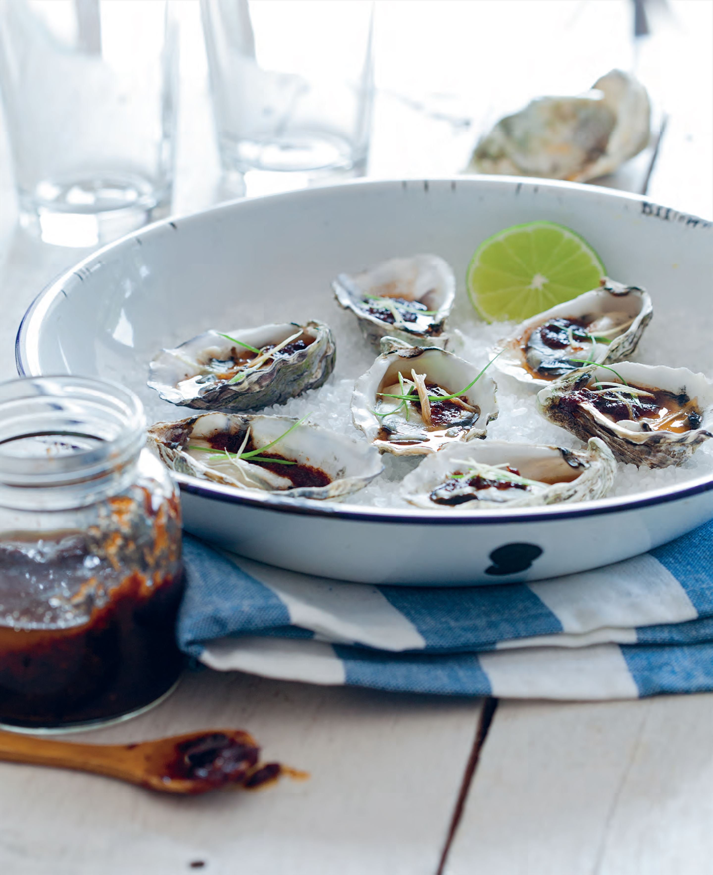 Barbecued oysters with XO sauce, ginger and shallot