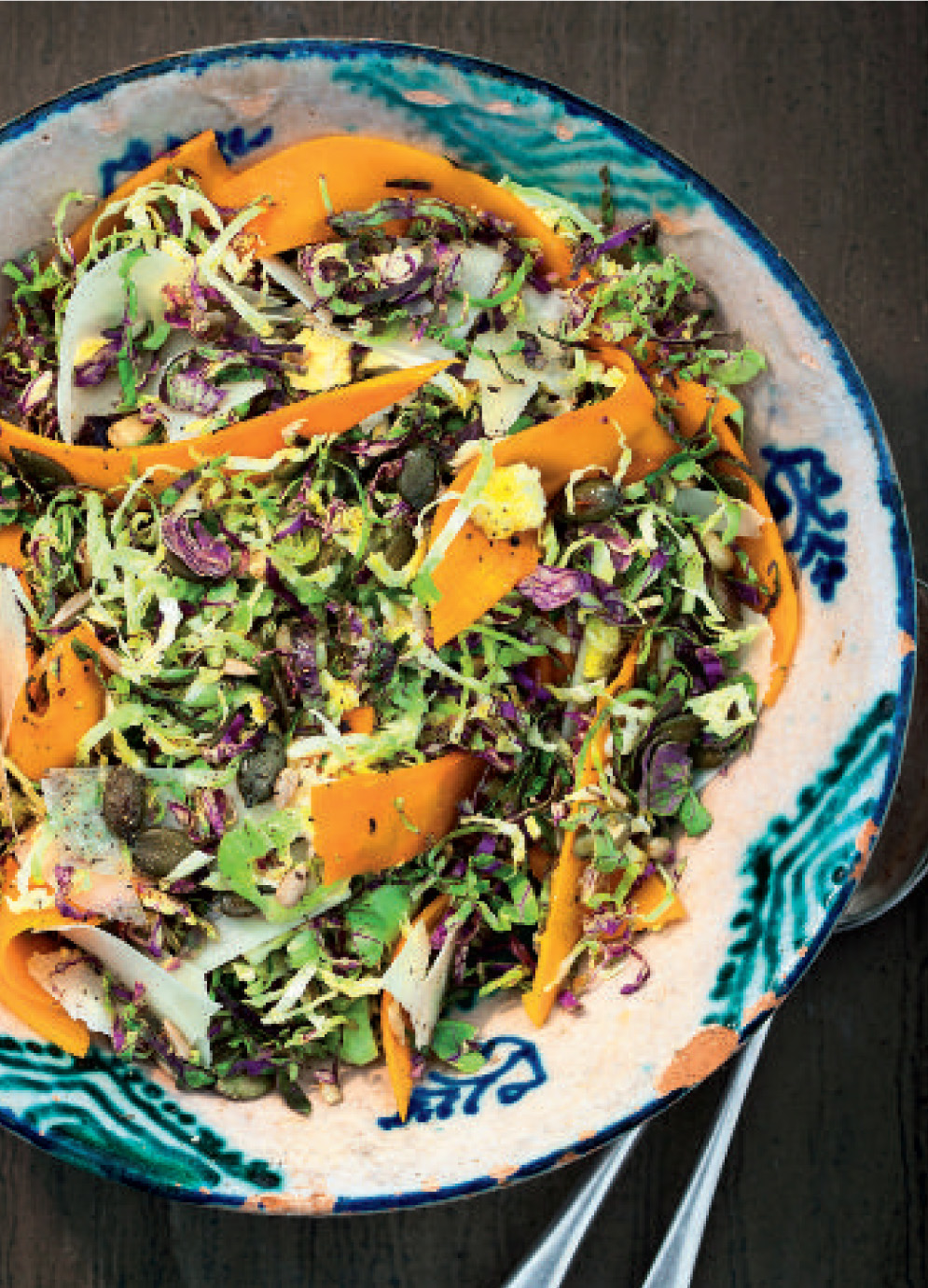 Kalette, squash and parmesan salad