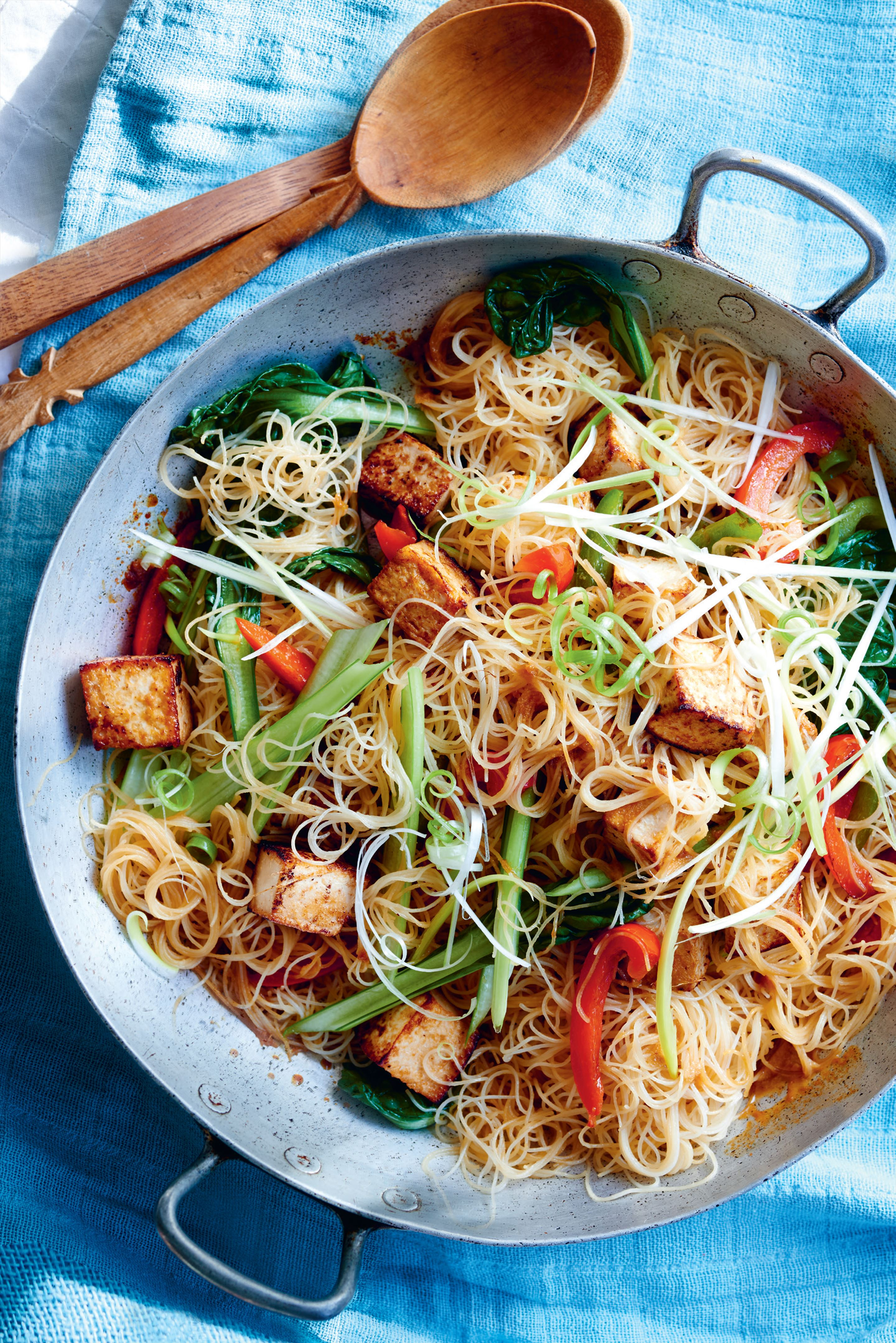 Marinated tofu stir-fry with kelp noodles and Asian greens
