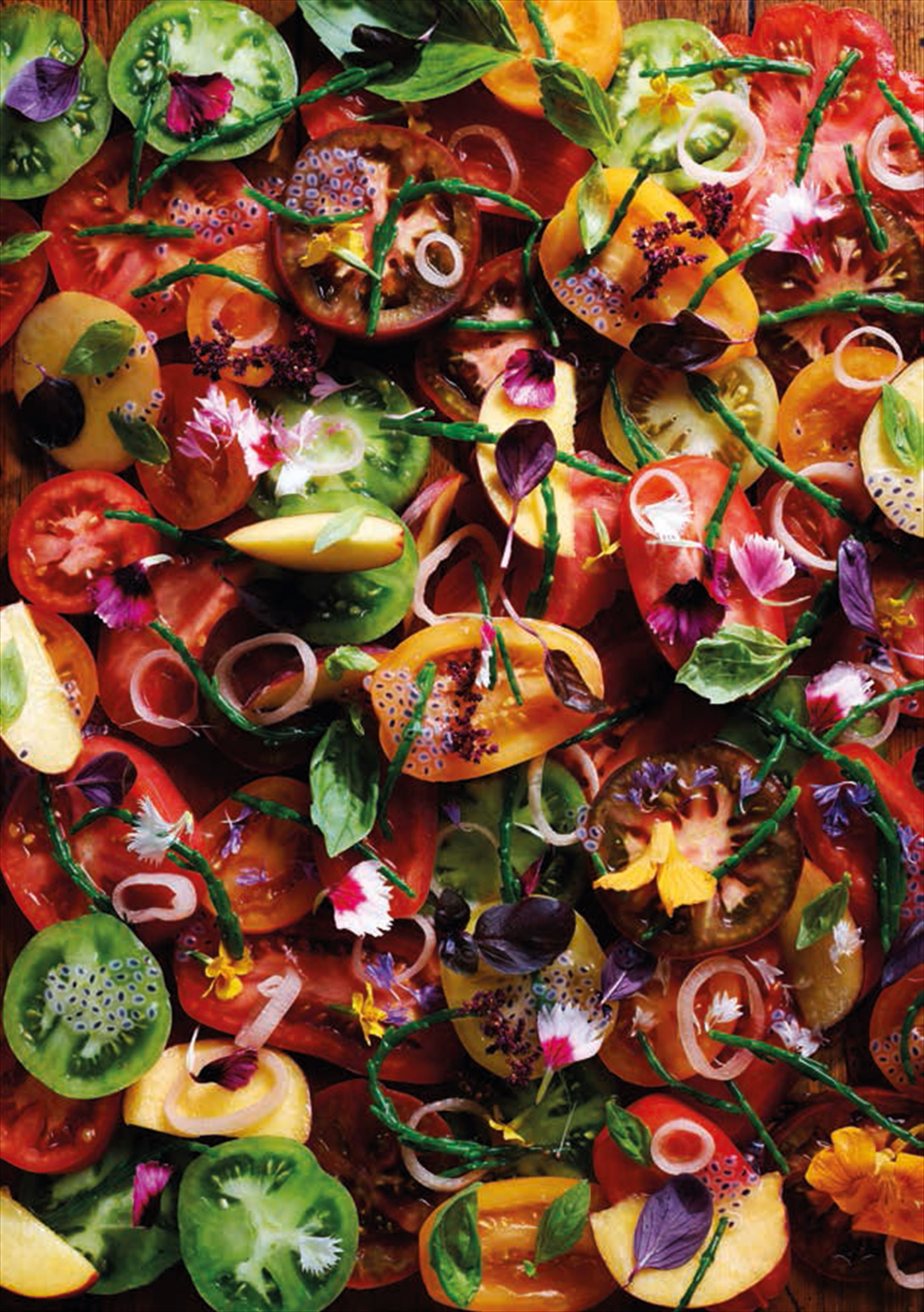 Tomato and samphire salad with peach and basil