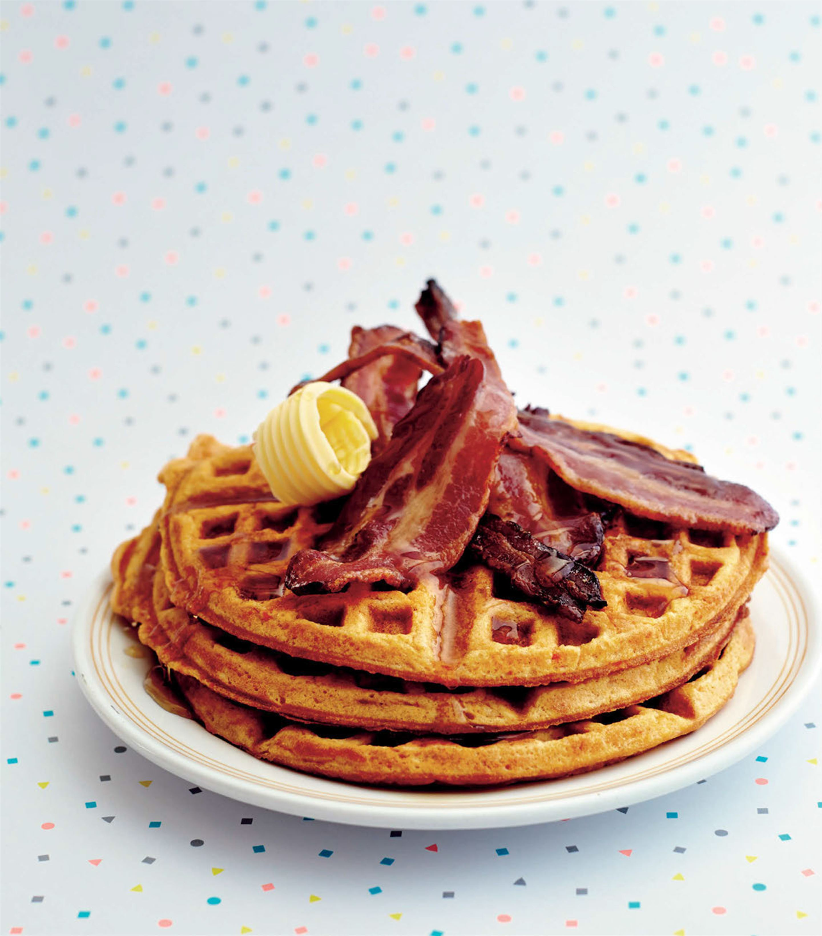 Sweet potato waffles with rosemary maple syrup