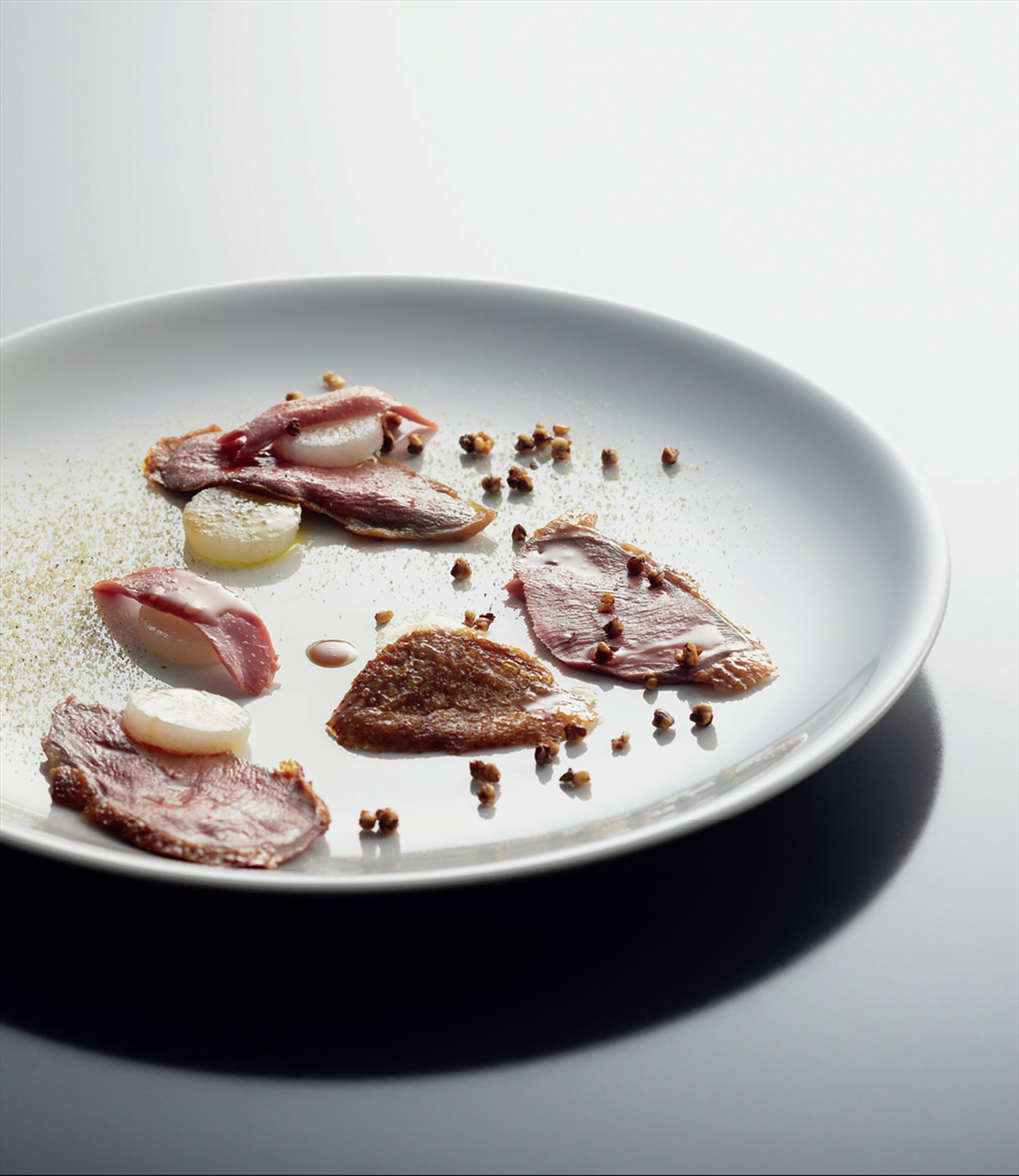 Carpaccio of squab, buckwheat praline and sherry vinaigrette