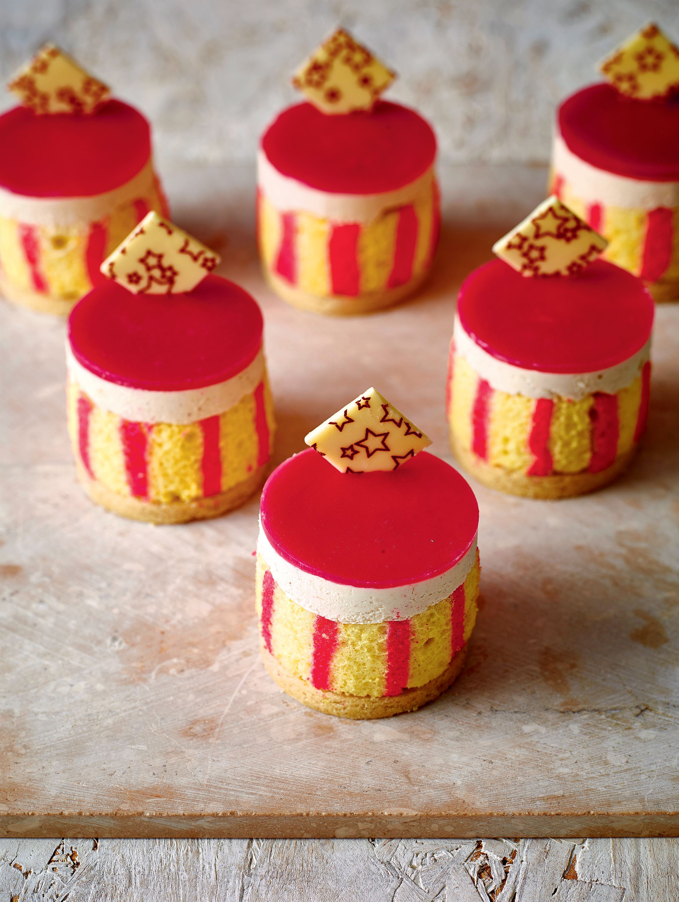 Rhubarb and custard entremets