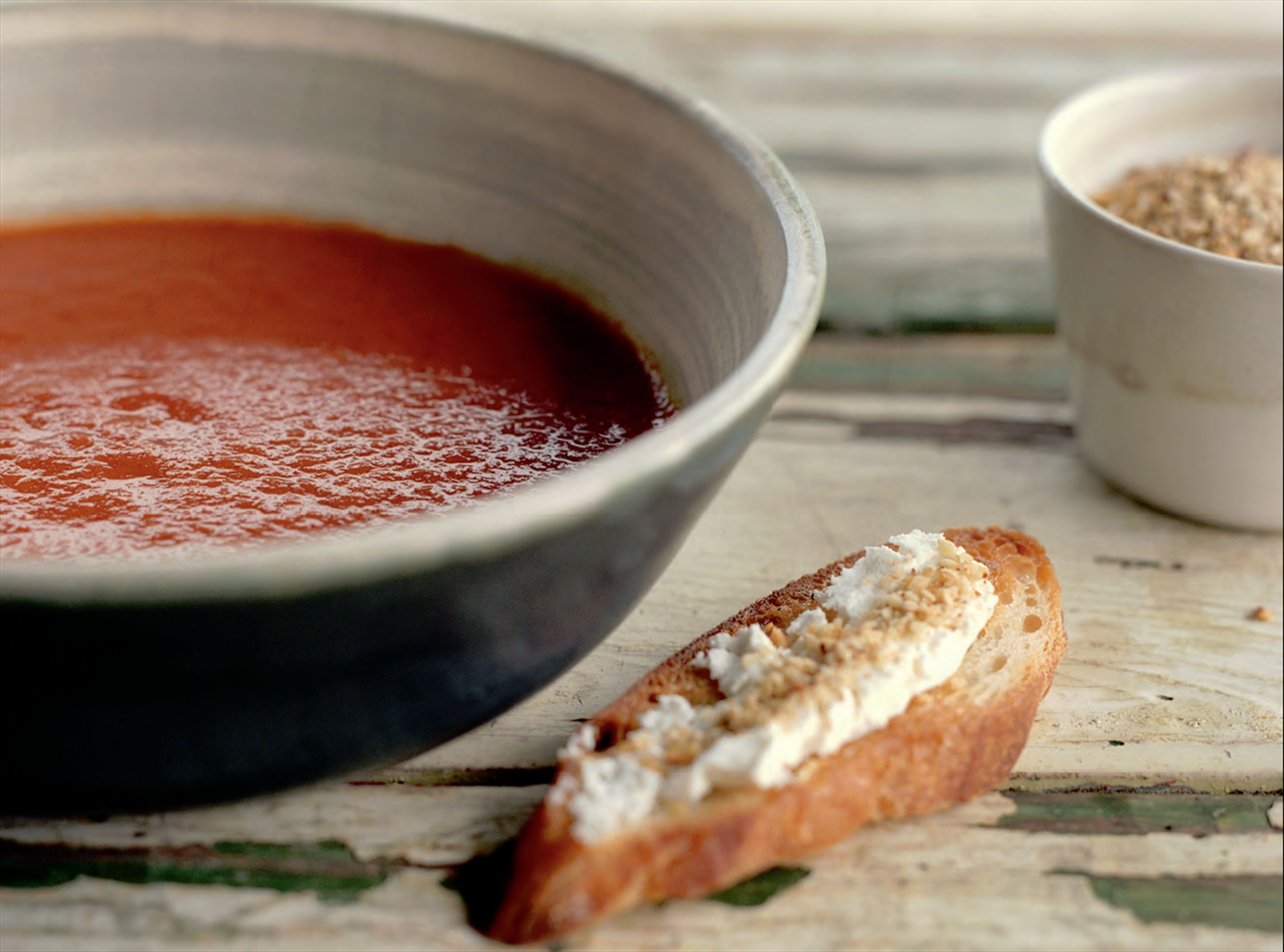 Roasted tomato and red capsicum soup with dukkah