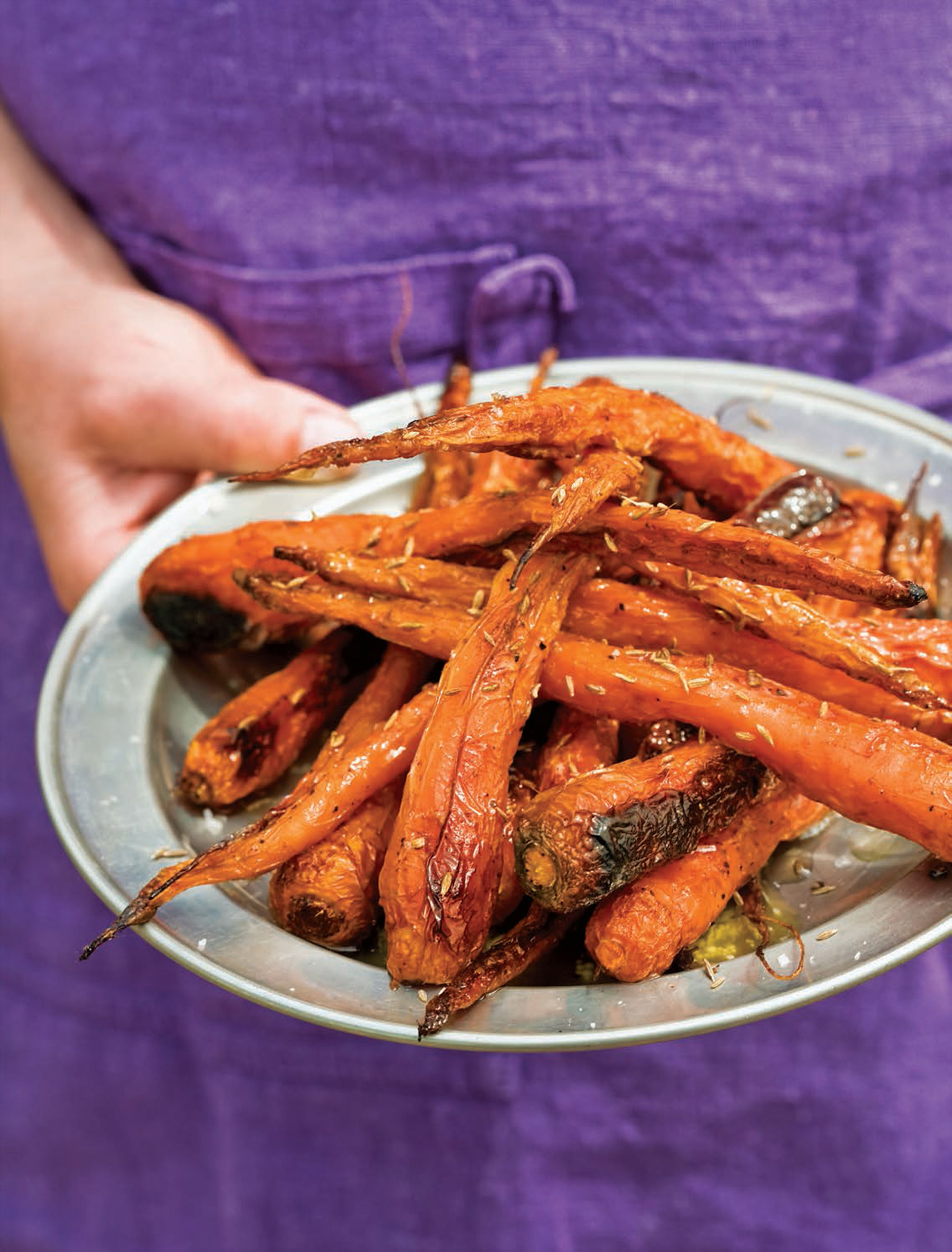 Roast carrots with butter and toasted cumin